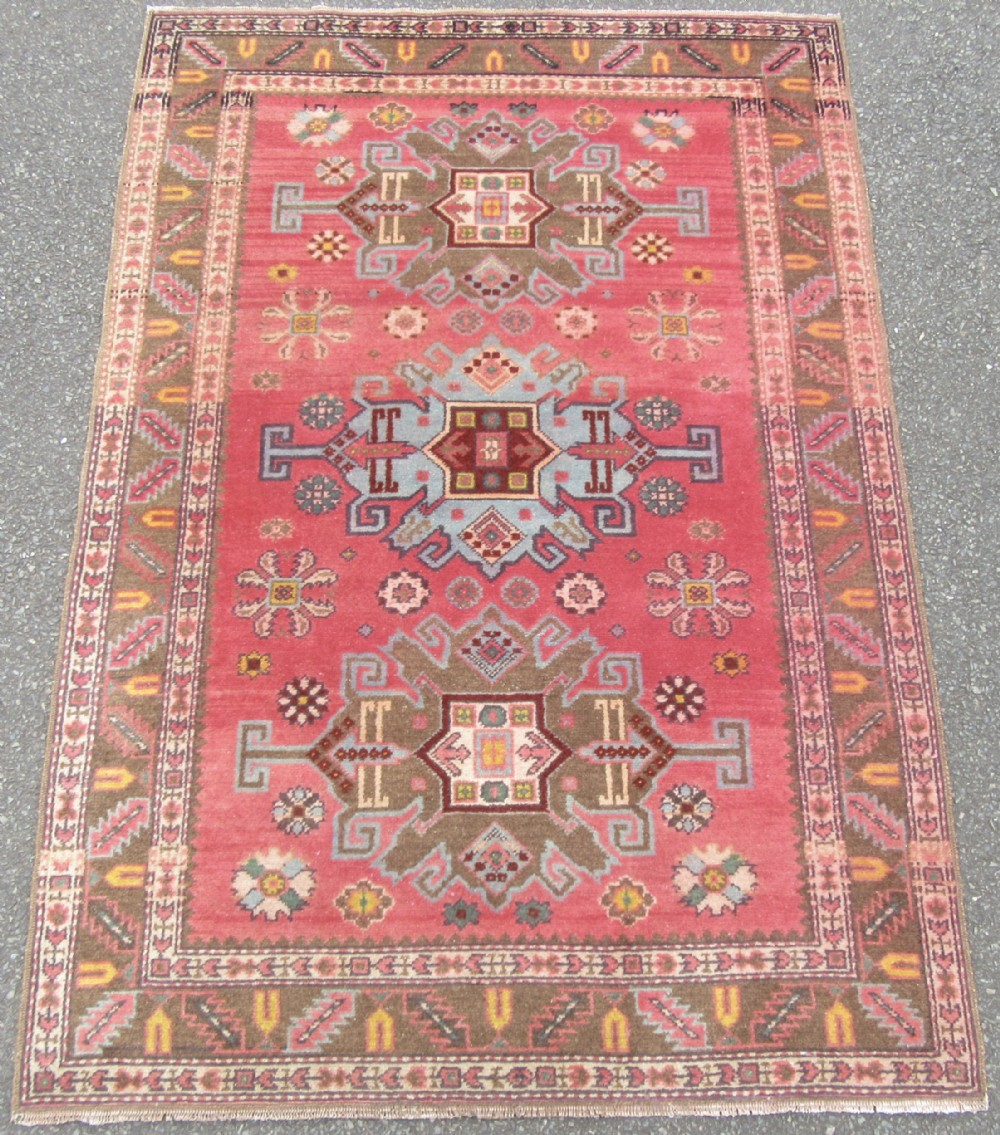 attractive antique trans caucasian erivan armenian rug circa 1920s amazing candy floss pink abrash