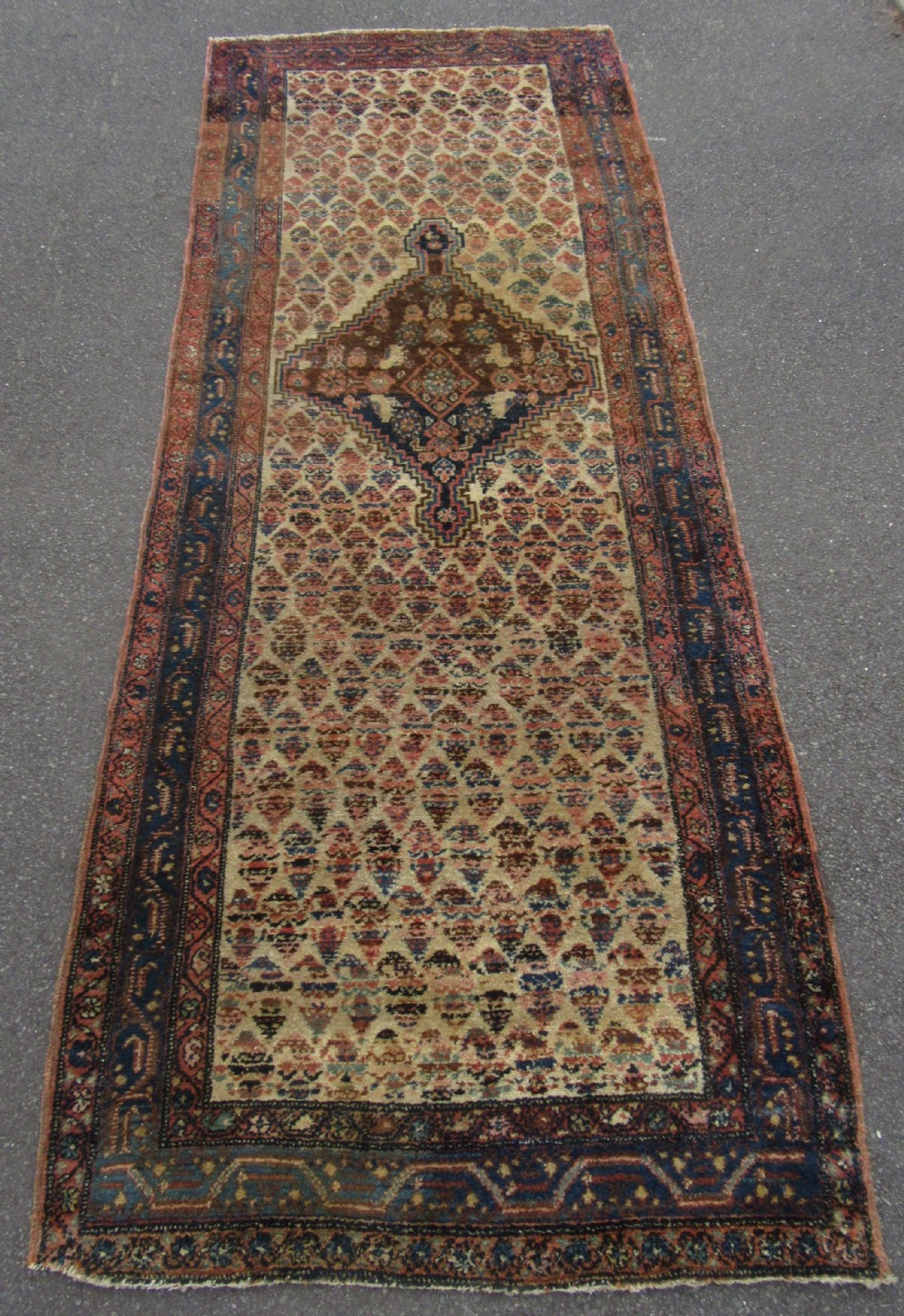 antique country house persian kurdish long rug runner boteh field with abrashing