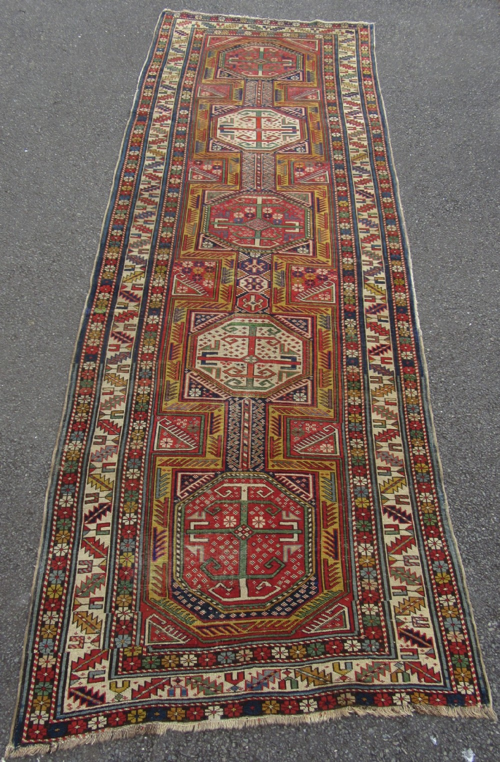 antique country house caucasian shirvan baku surahani long rug runner nice example