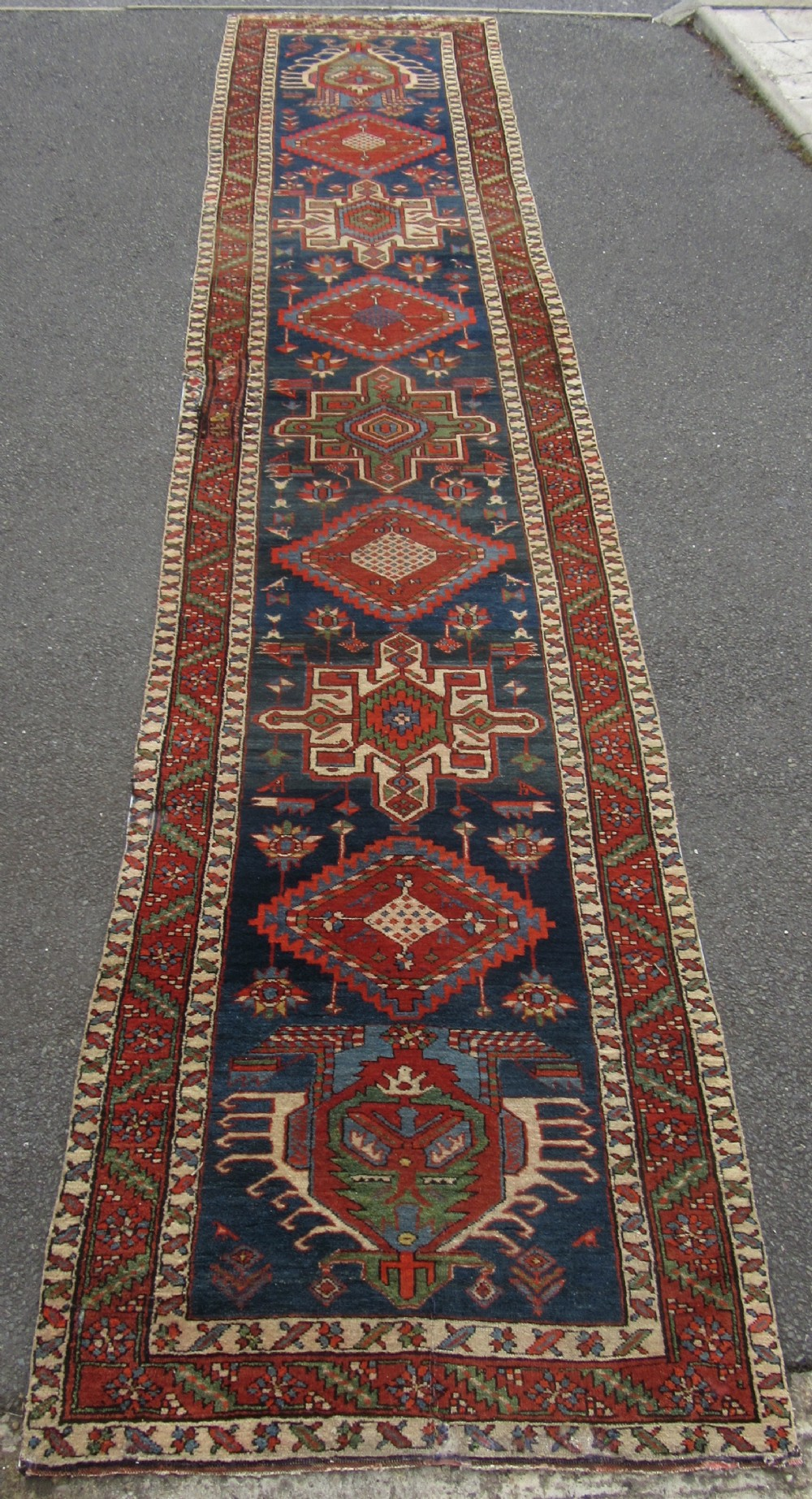 very nice antique country house north west persian karaja runner long rug only 94cm wide