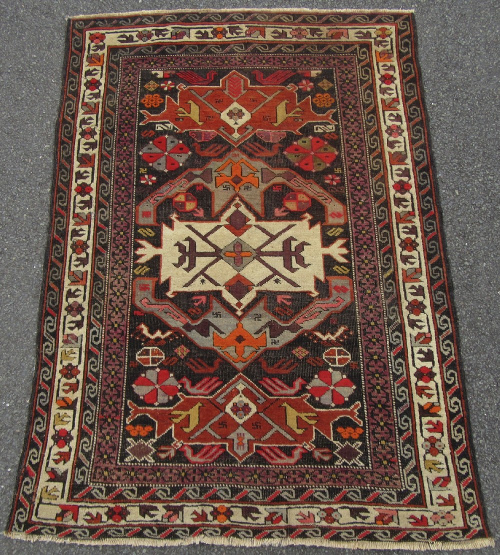 antique caucasian rug bird motifs late 19thearly 20th century