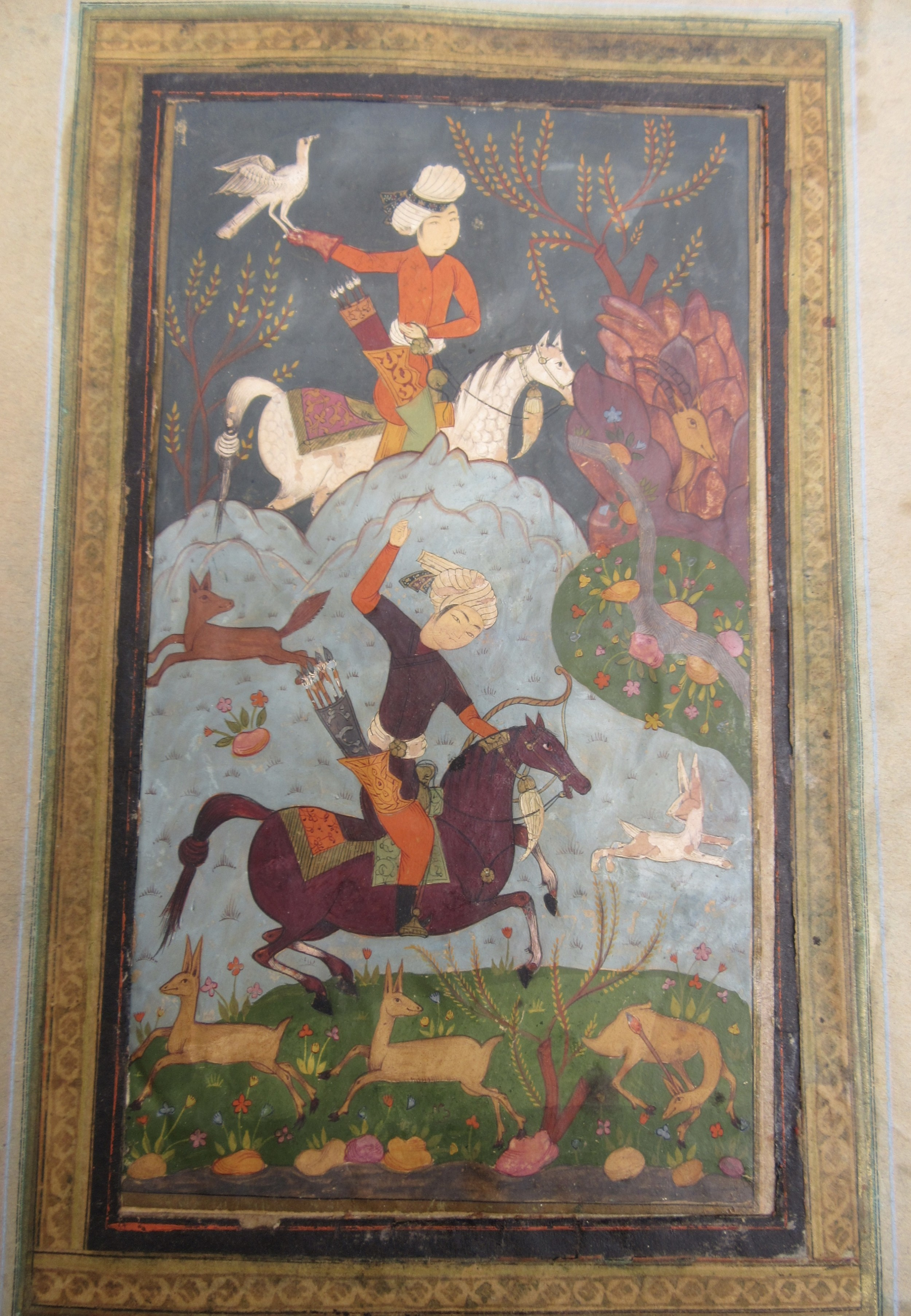A Persian Safavid Miniature Painting Nobles Out Hunting  17th