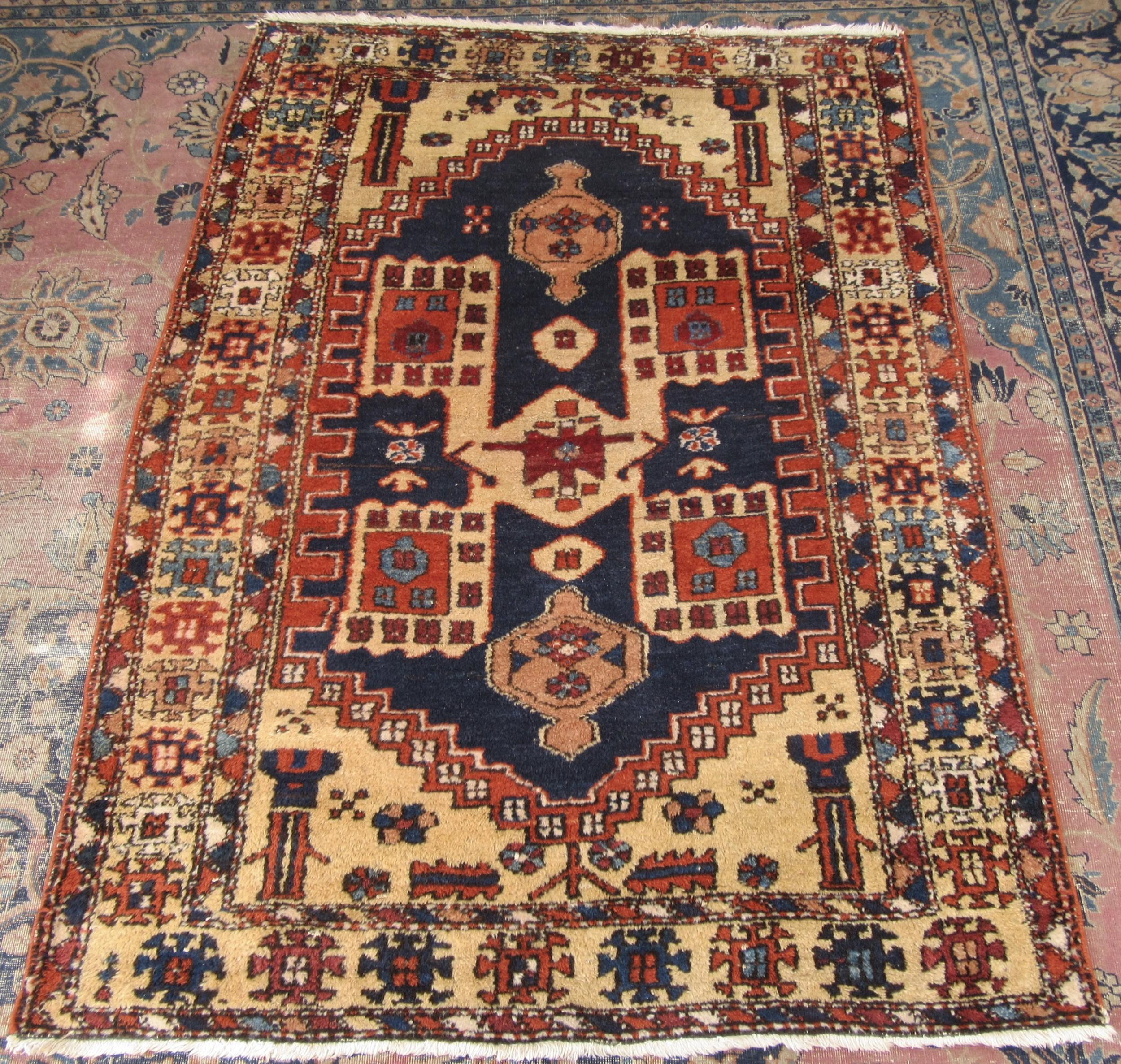beautiful rare lemon yellow ground antique north west persian karaja tribal rug