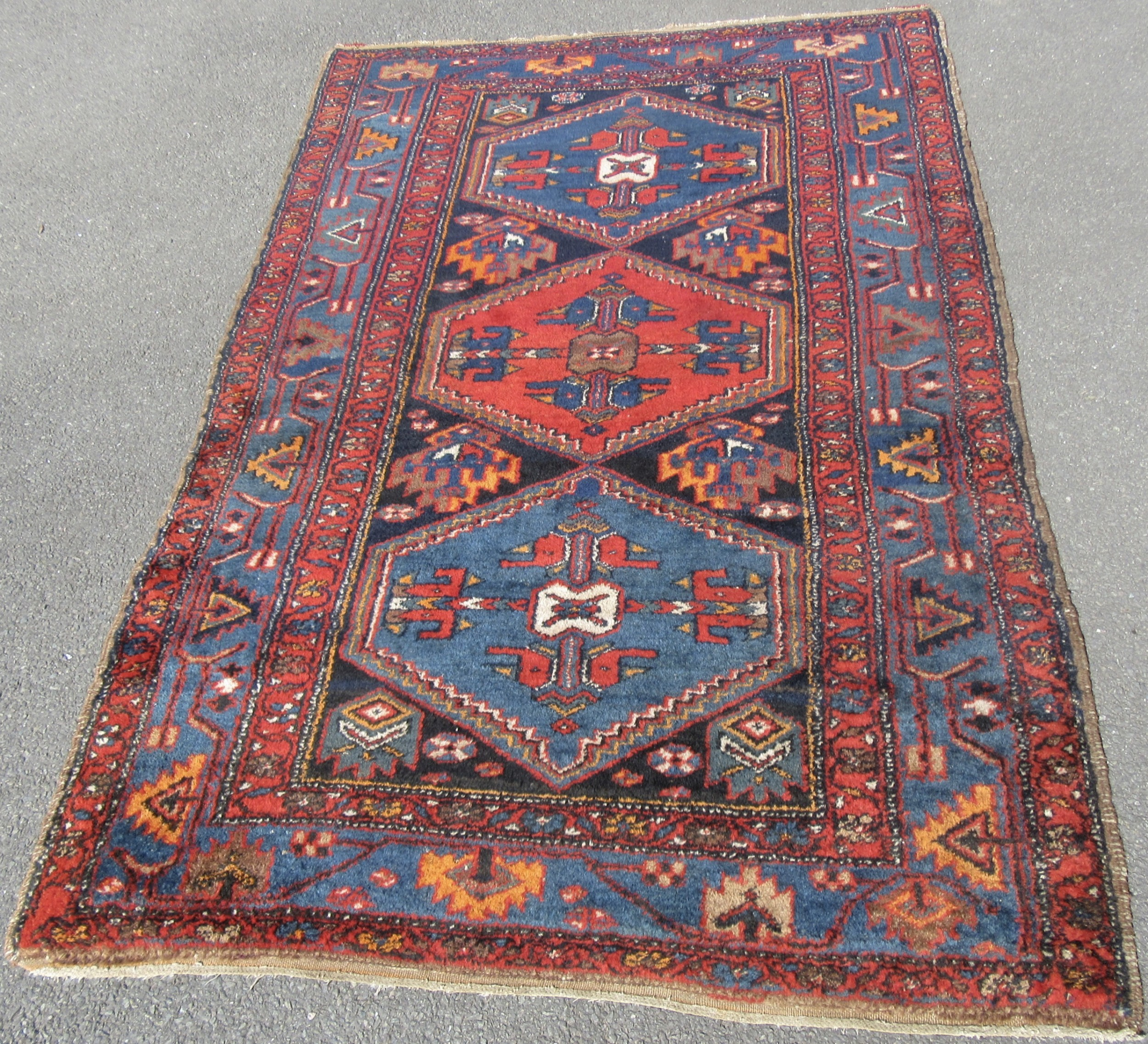 antique north west persian kurdish rug colourful circa 1920s
