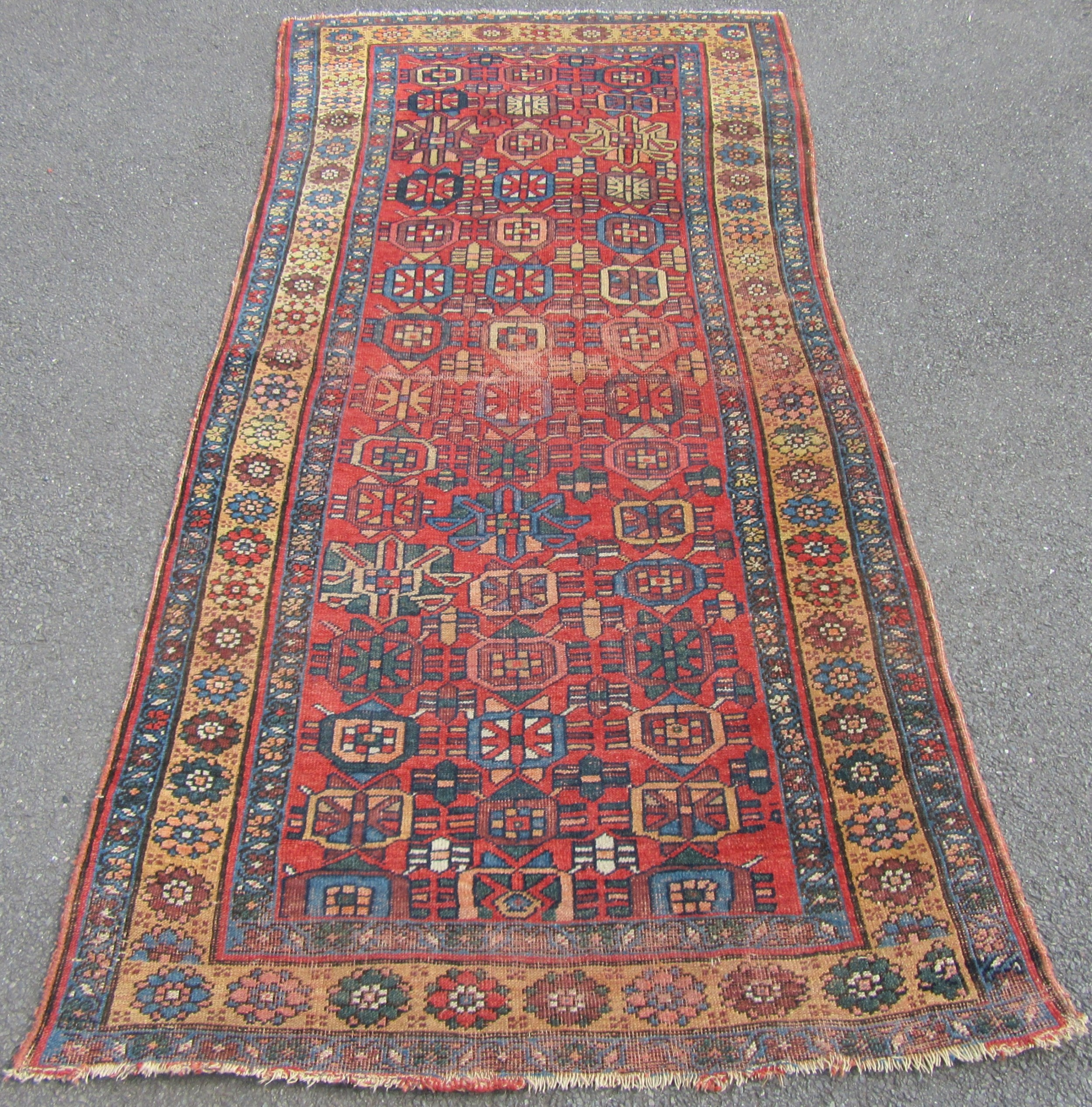 unusual design antique country house shabby chic persian kurdish rug circa 1910