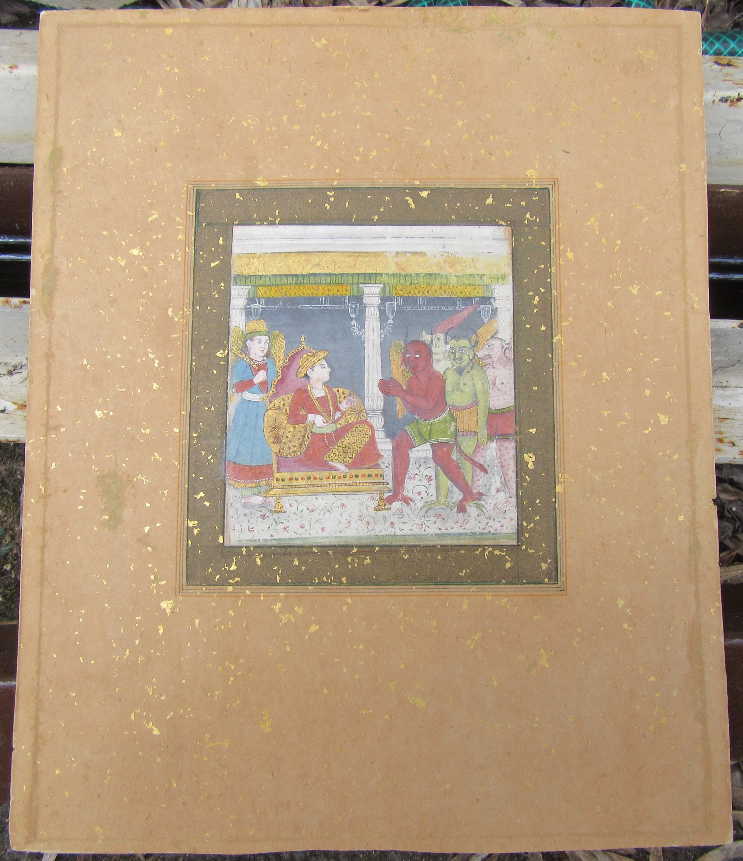 king solomon in the company of angels and demonsdelhi schoolcirca 1800 indian miniature painting