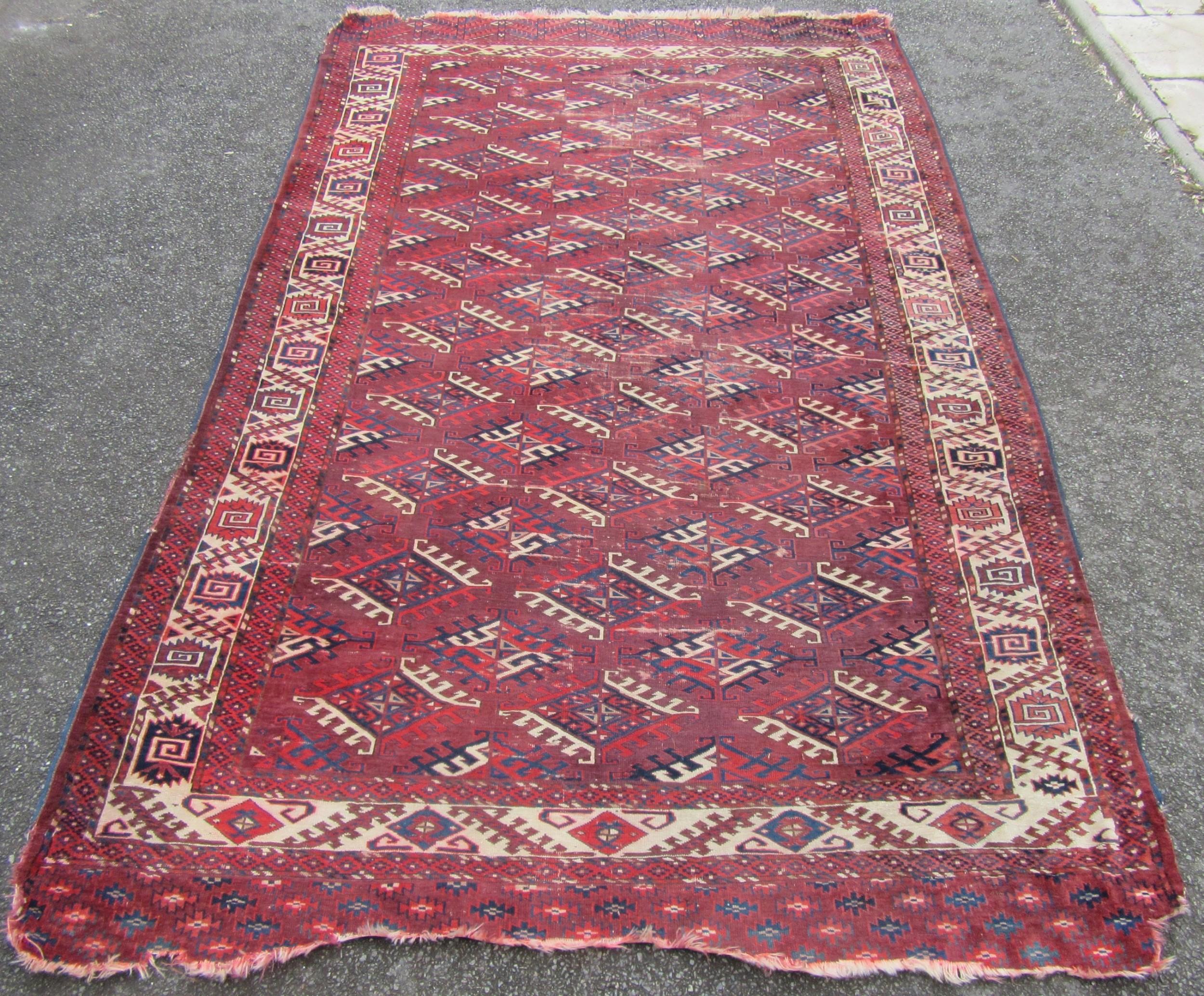 antique country house shabby chic yomut turkoman turkmen dyrnak gul main carpet rug