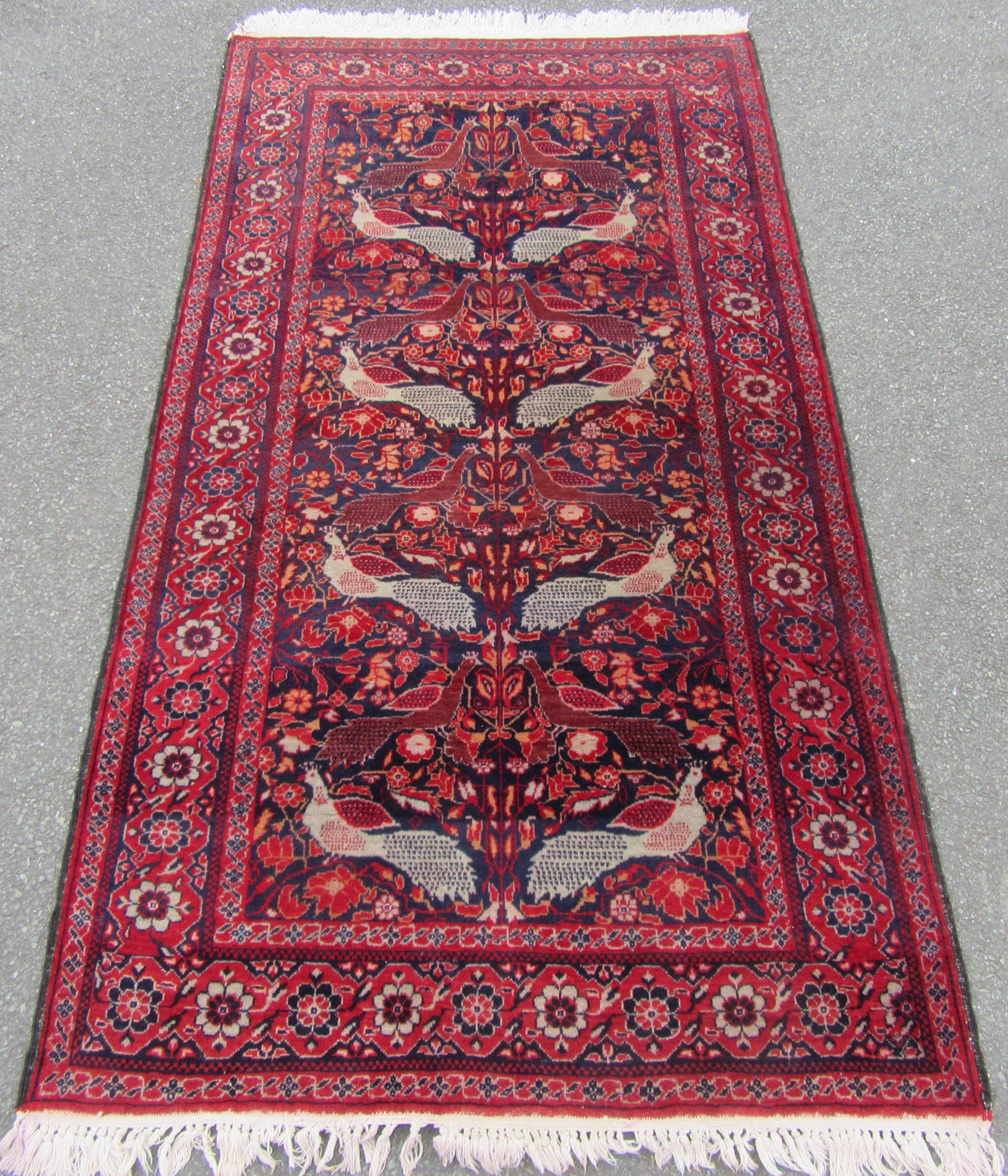 fine and rare pattern antique west persian tafrish peacock tribal rug