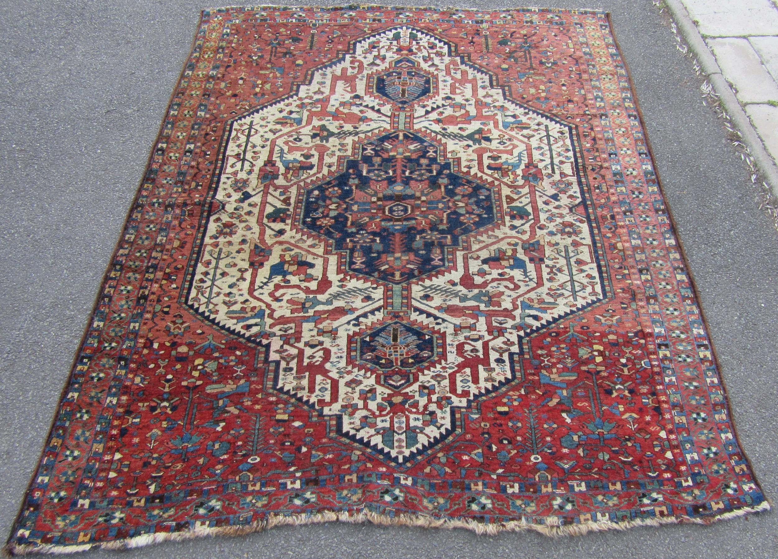 stunning antique persian afshar neriz tribal rug