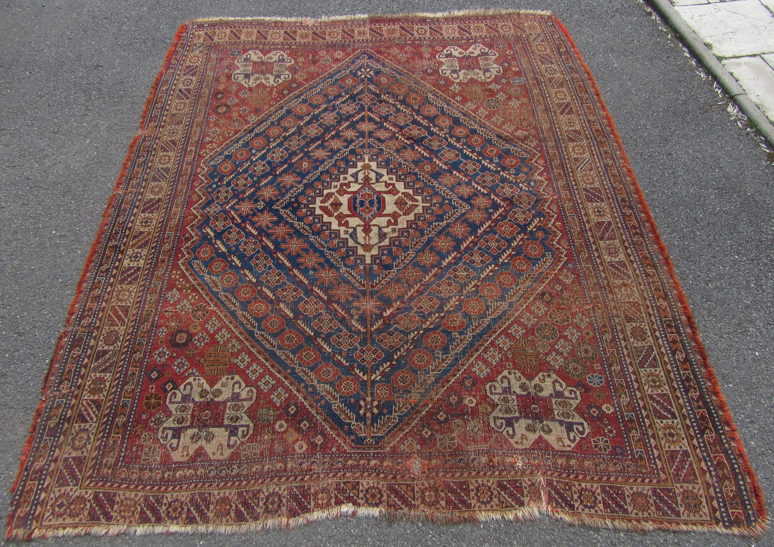 Charming Antique Country House Shabby Chic Persian Q Ashqai Tribal Rug 629894 Sellingantiques Co Uk