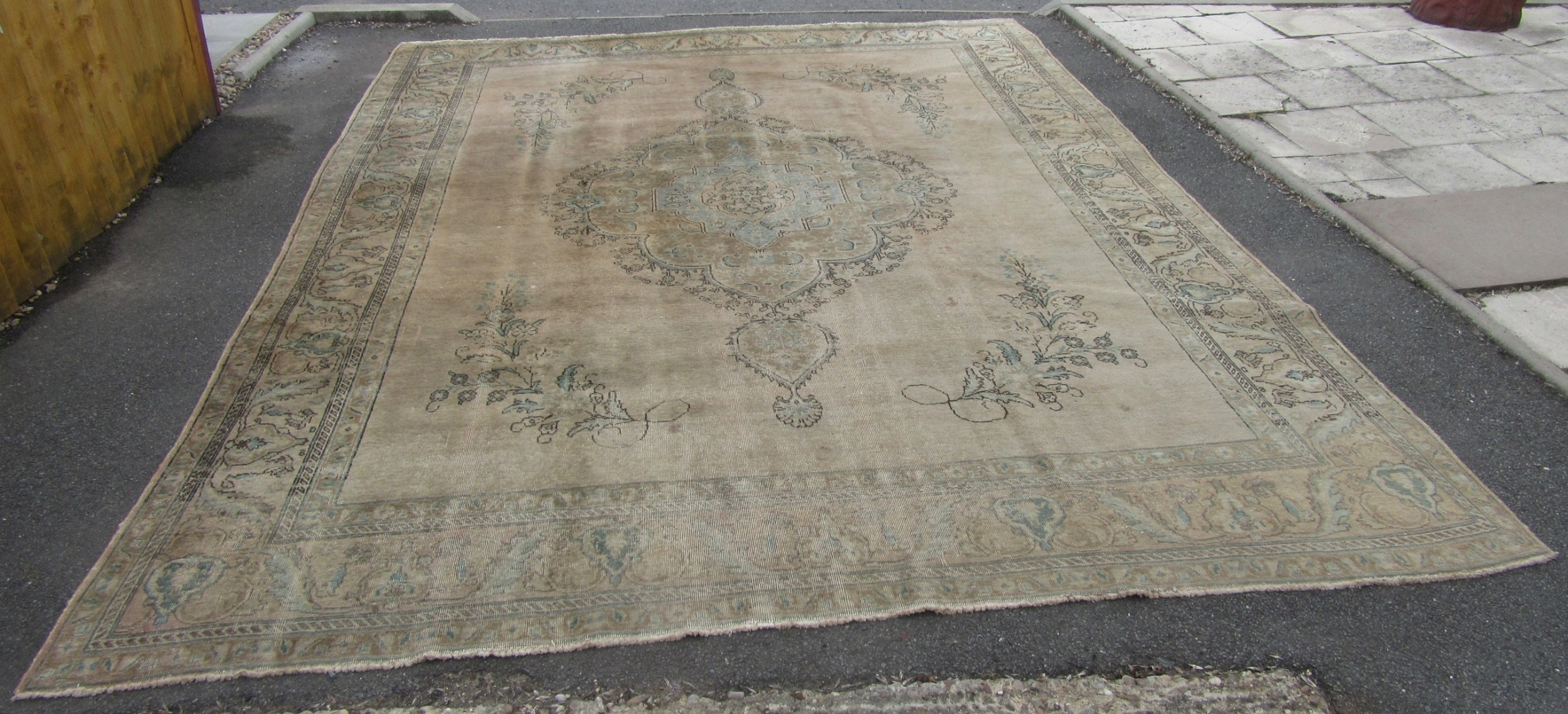 an antique country house shabby chic north west persian tabriz carpet 12 foot 9 by 9 foot 11 inches