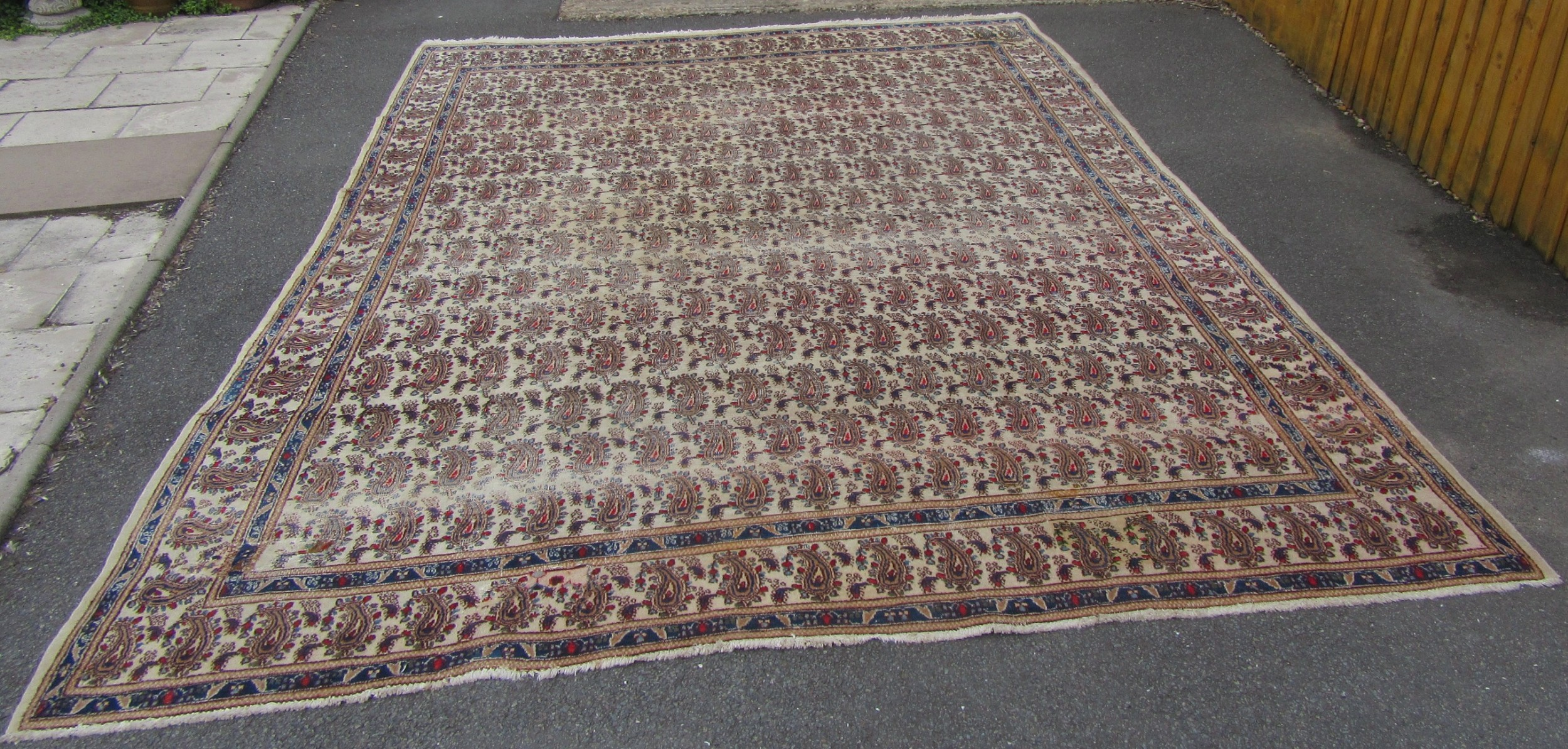 a rare antique country house shabby chic persian mahal ivory ground carpet 12 foot 2 by 9 foot 3 inches