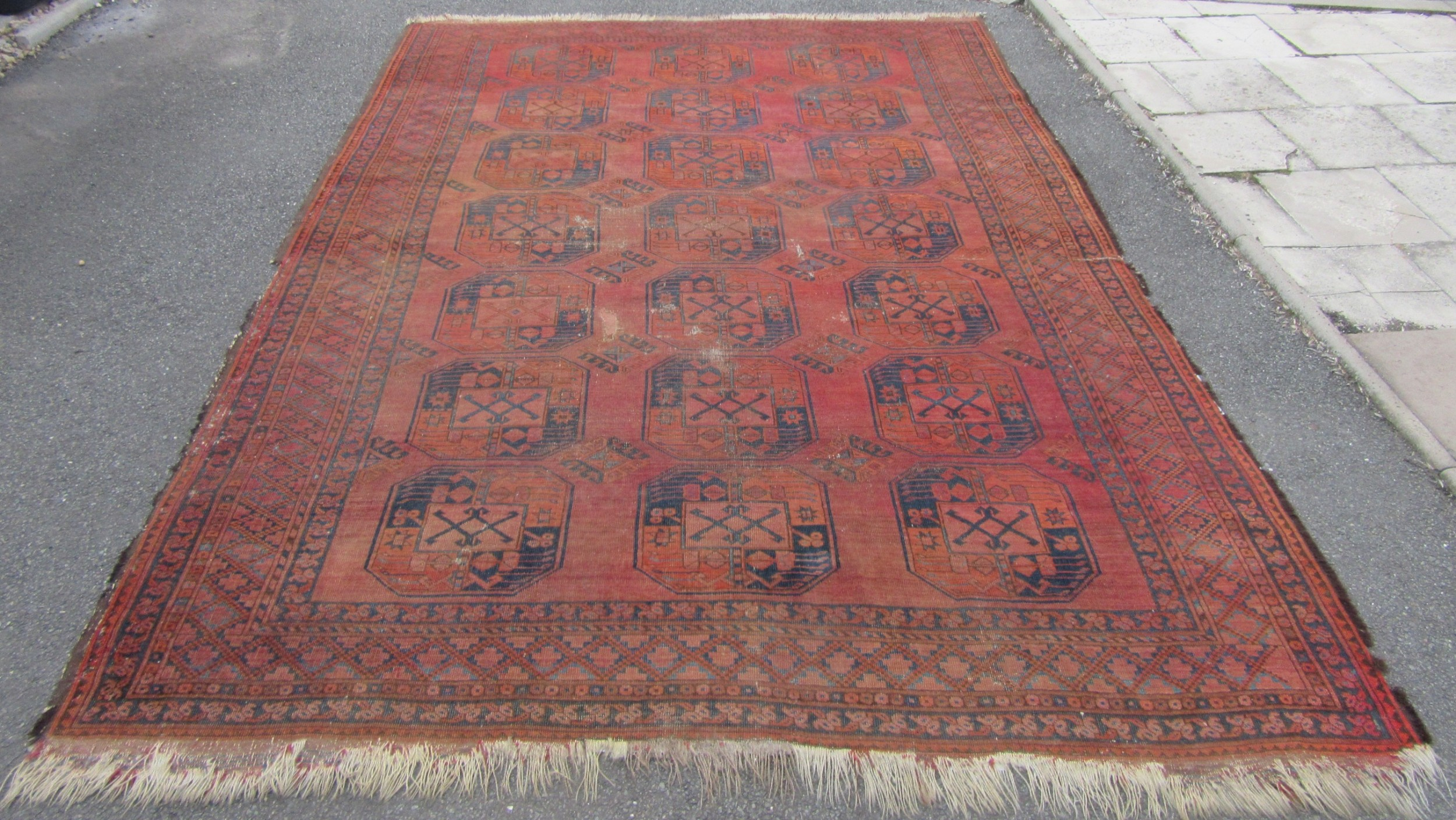 antique country house shabby chic afghan ersari main carpet 2nd half 19th century