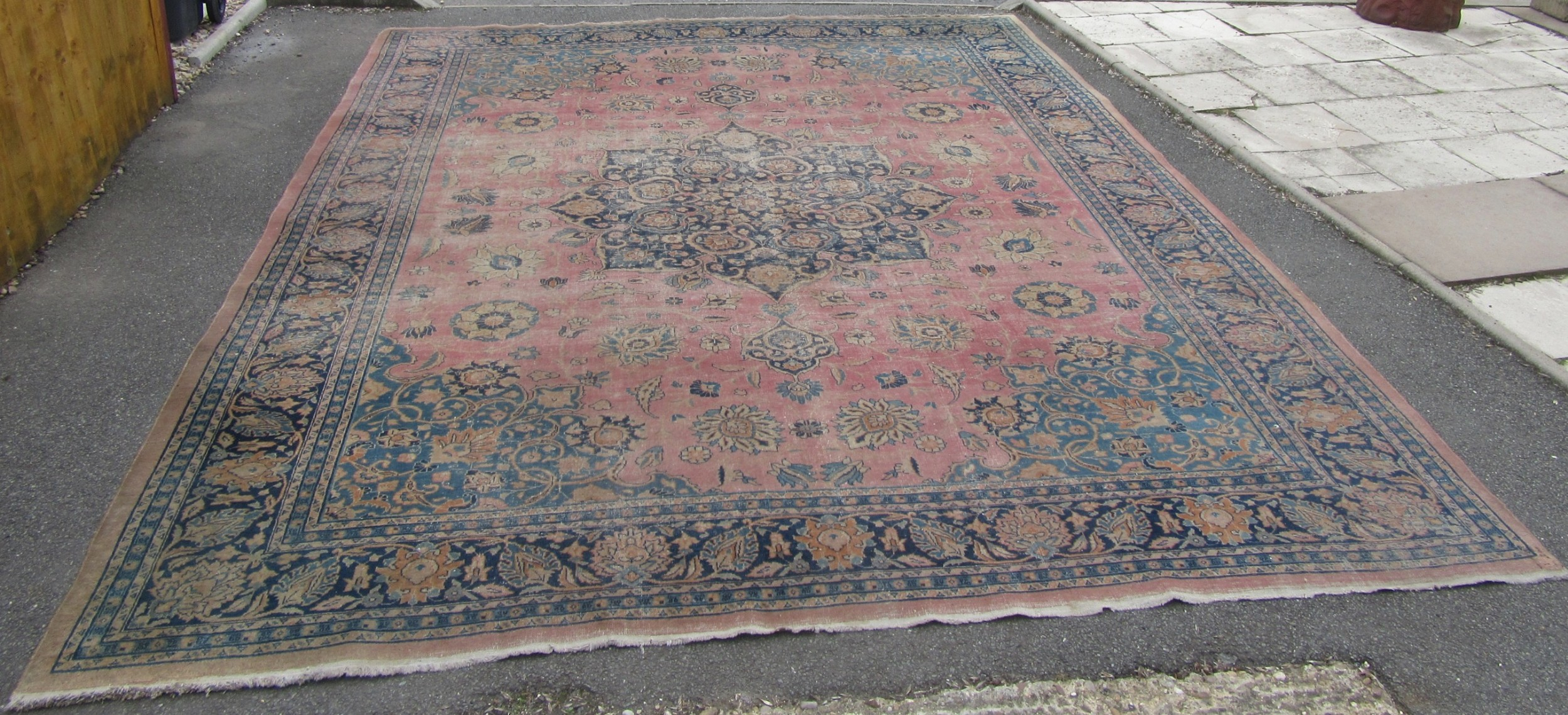 very attractive pretty antique country house shabby chic persian tabriz carpet rug