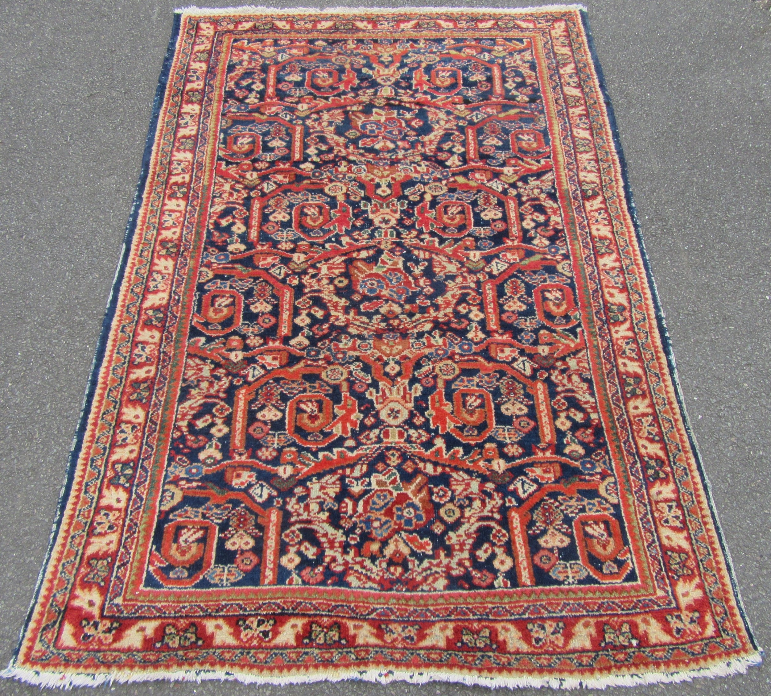 scarce antique persian mahal bird in the nest pattern rug