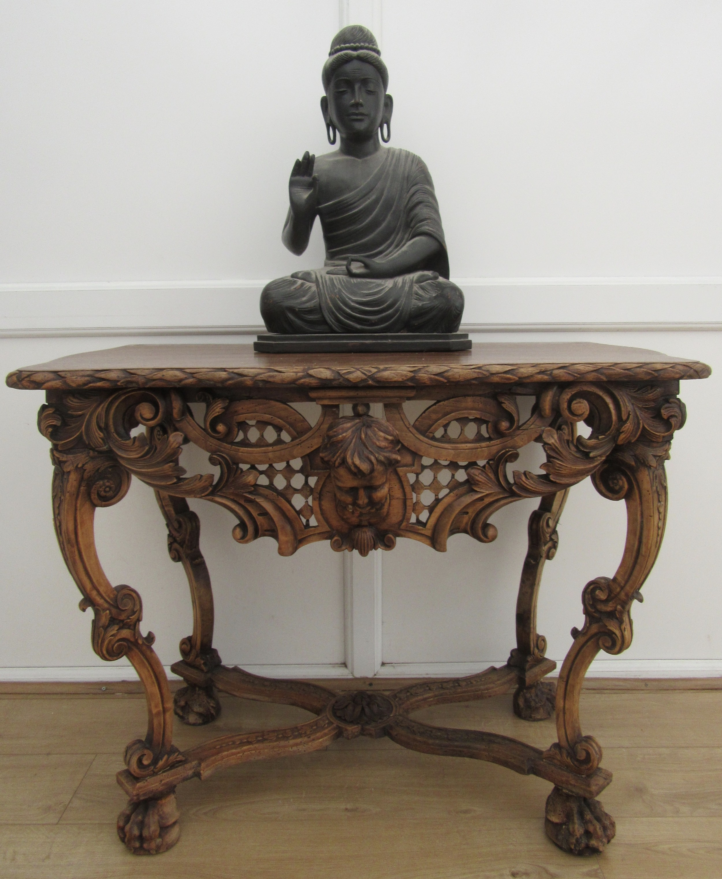 an imposing country house french provincial walnut fruitwood console side table 19th century