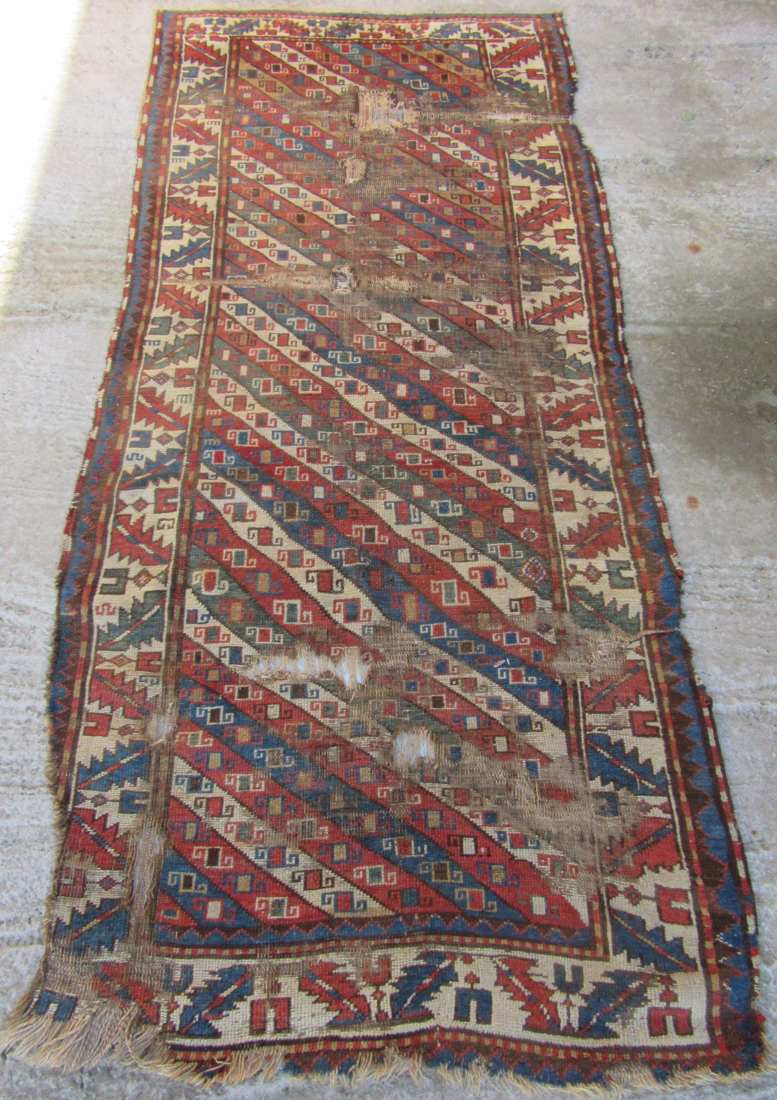 antique country house shabby chic north west persian kurdish caucasian long rug carpet