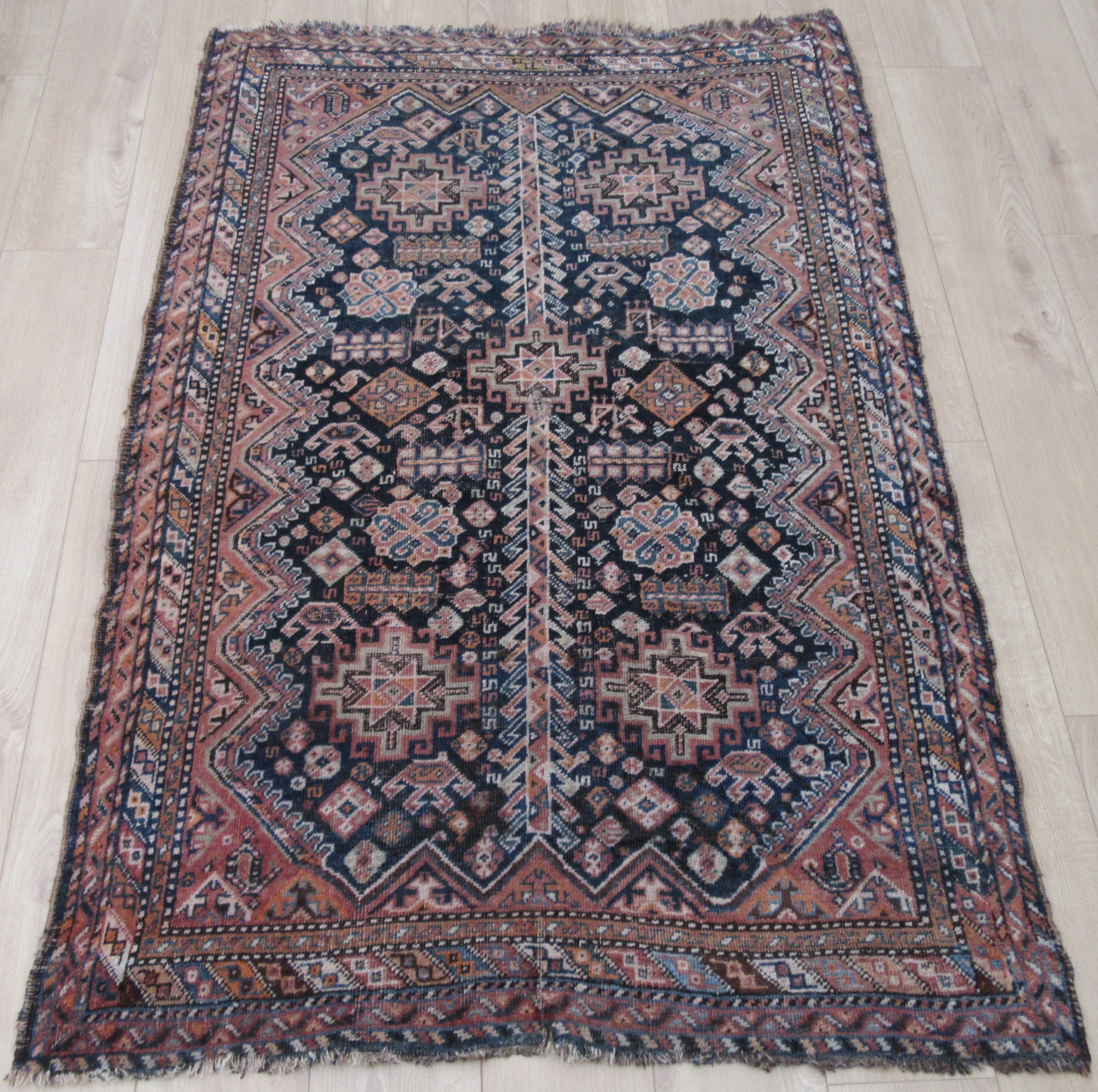 antique country house shabby chic south west persian fars tribal rug comical bird motifs