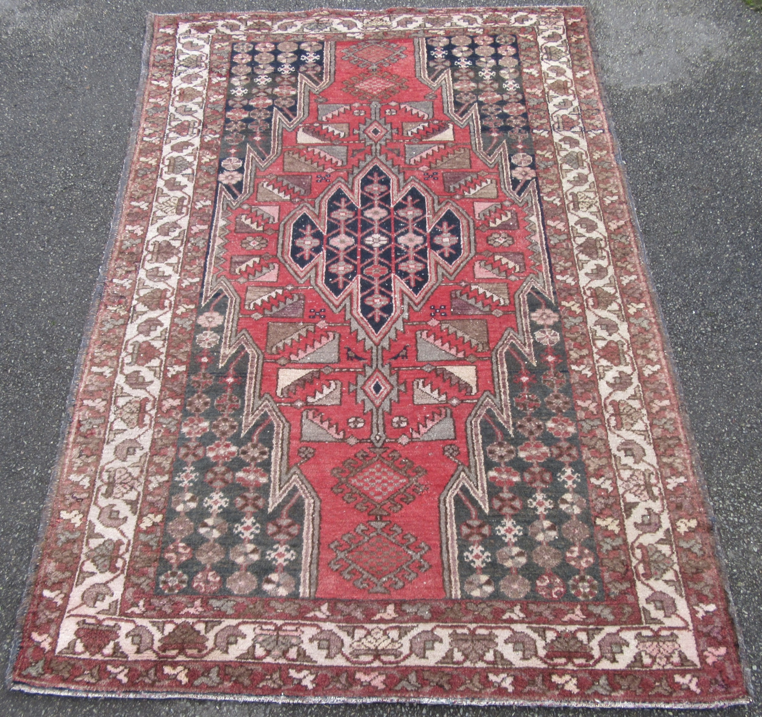 antique country house shabby chic persian hamadan maslaghan lightning pattern rug