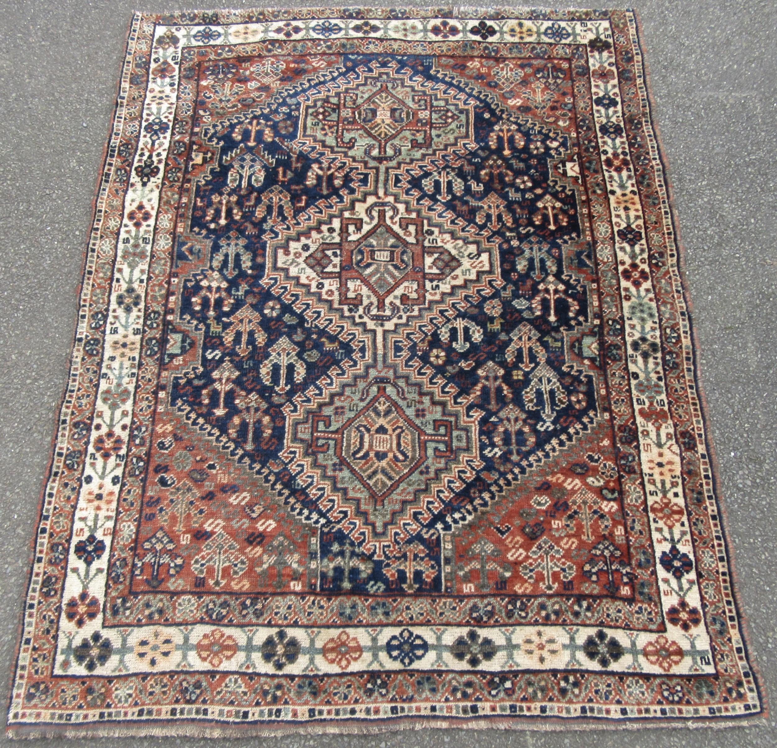 antique persian khamseh morghi confederacy rug myriads of animal bird motifs