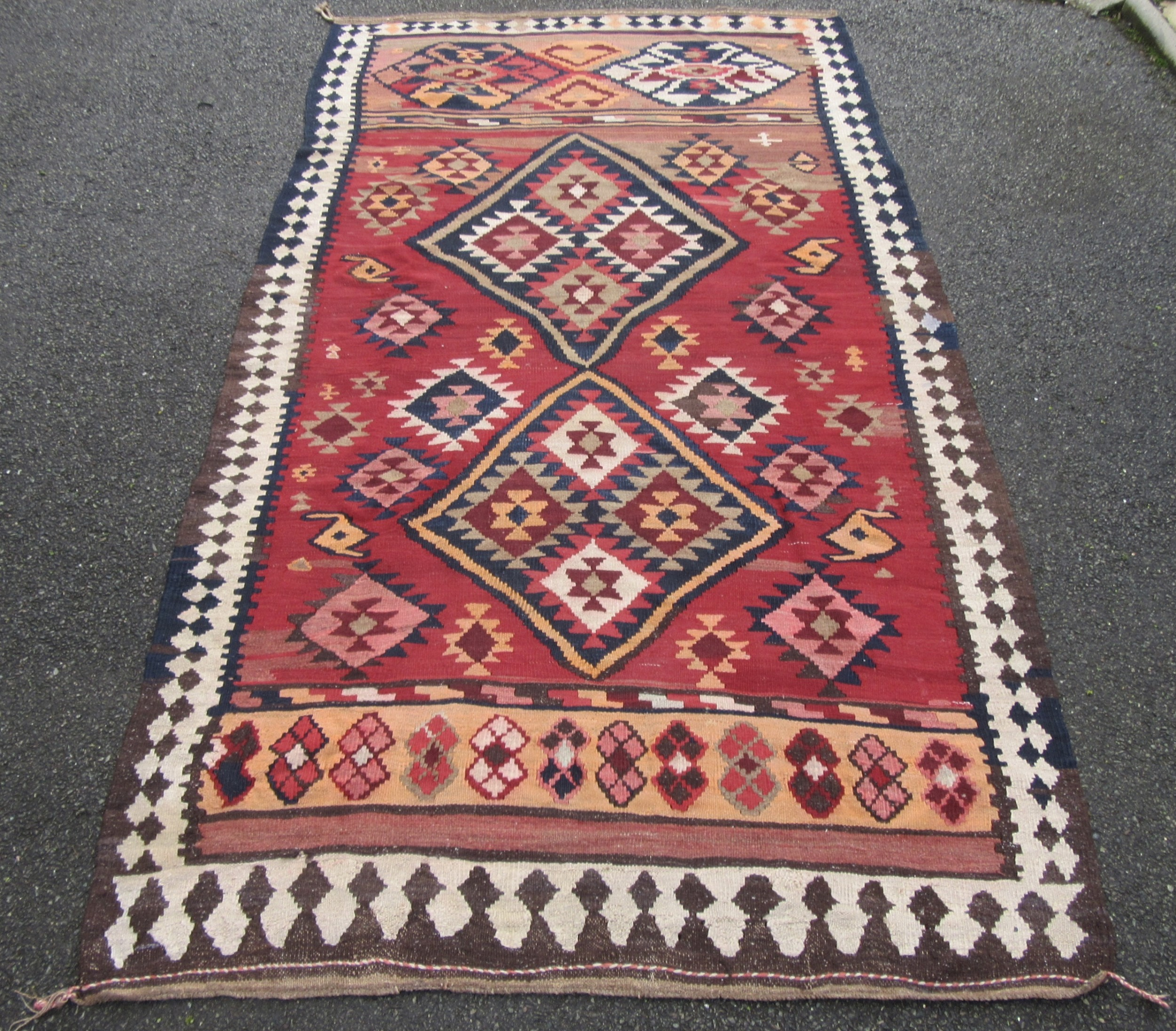 antique south west persian qashqai kilim kelim carpet rug all woollen weave with soft colours