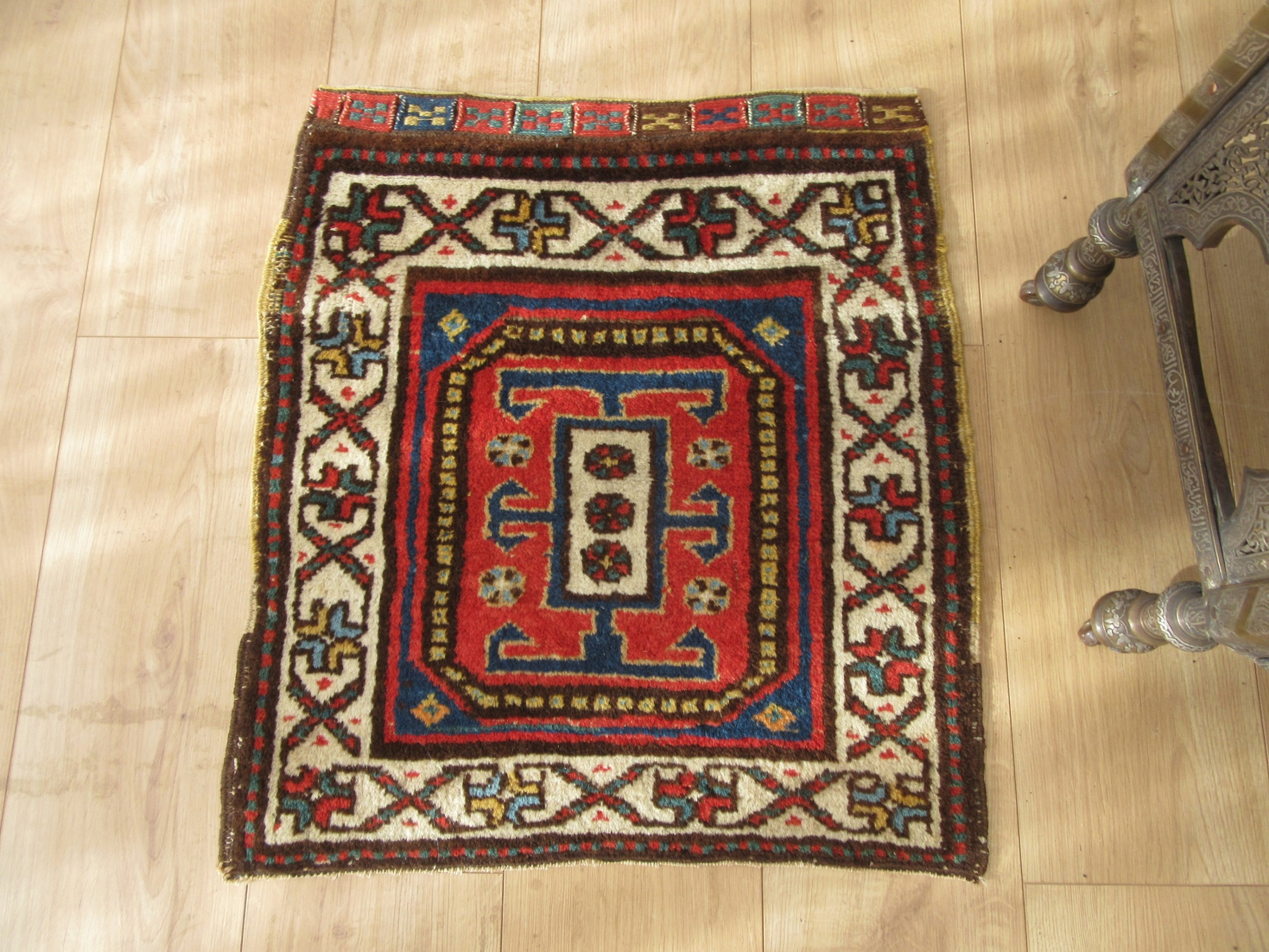antique north west persian kurdish bag face half khorjin rug