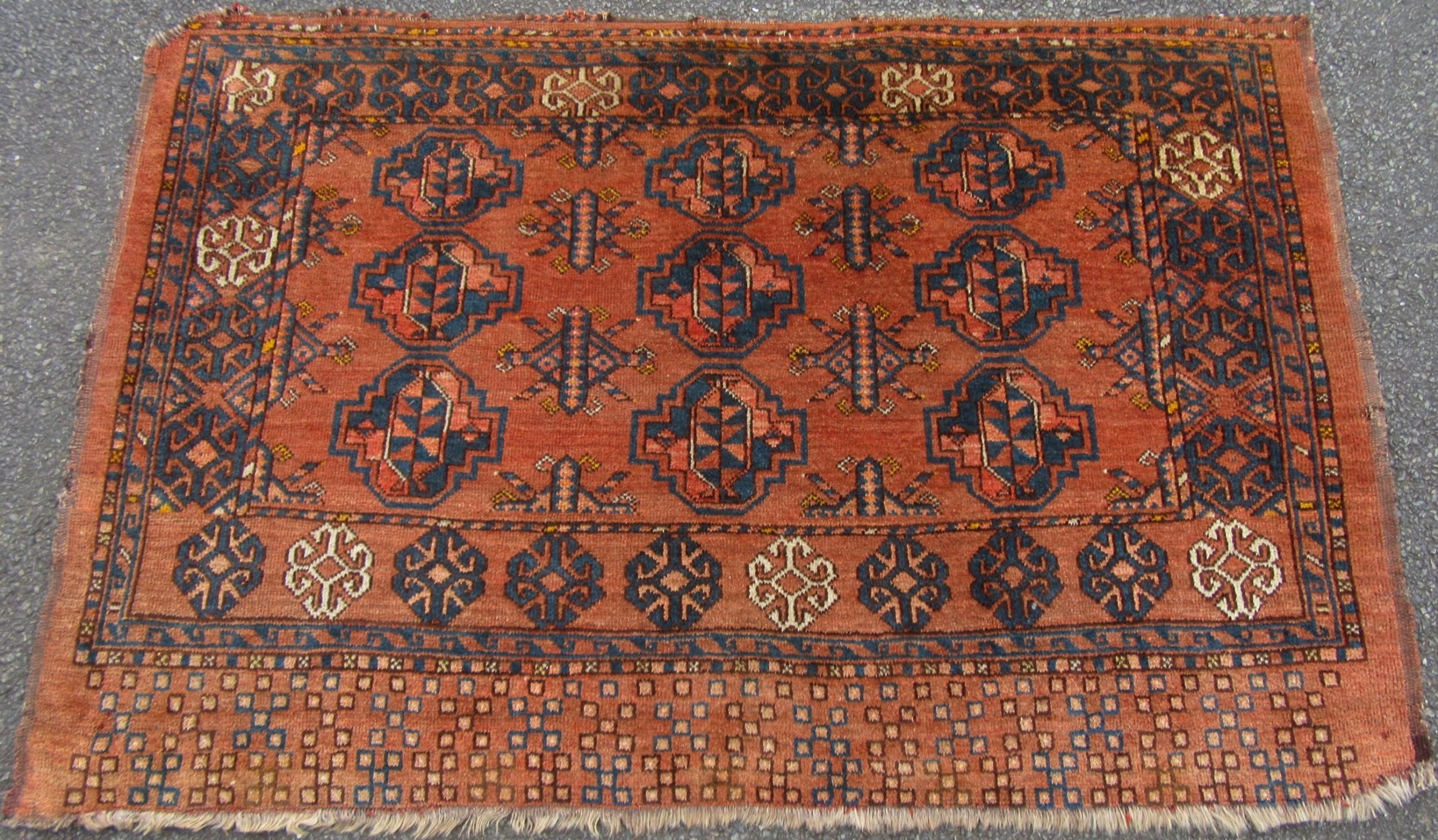 antique ersari turkmen chuval face rug 9 gul design variety of uses