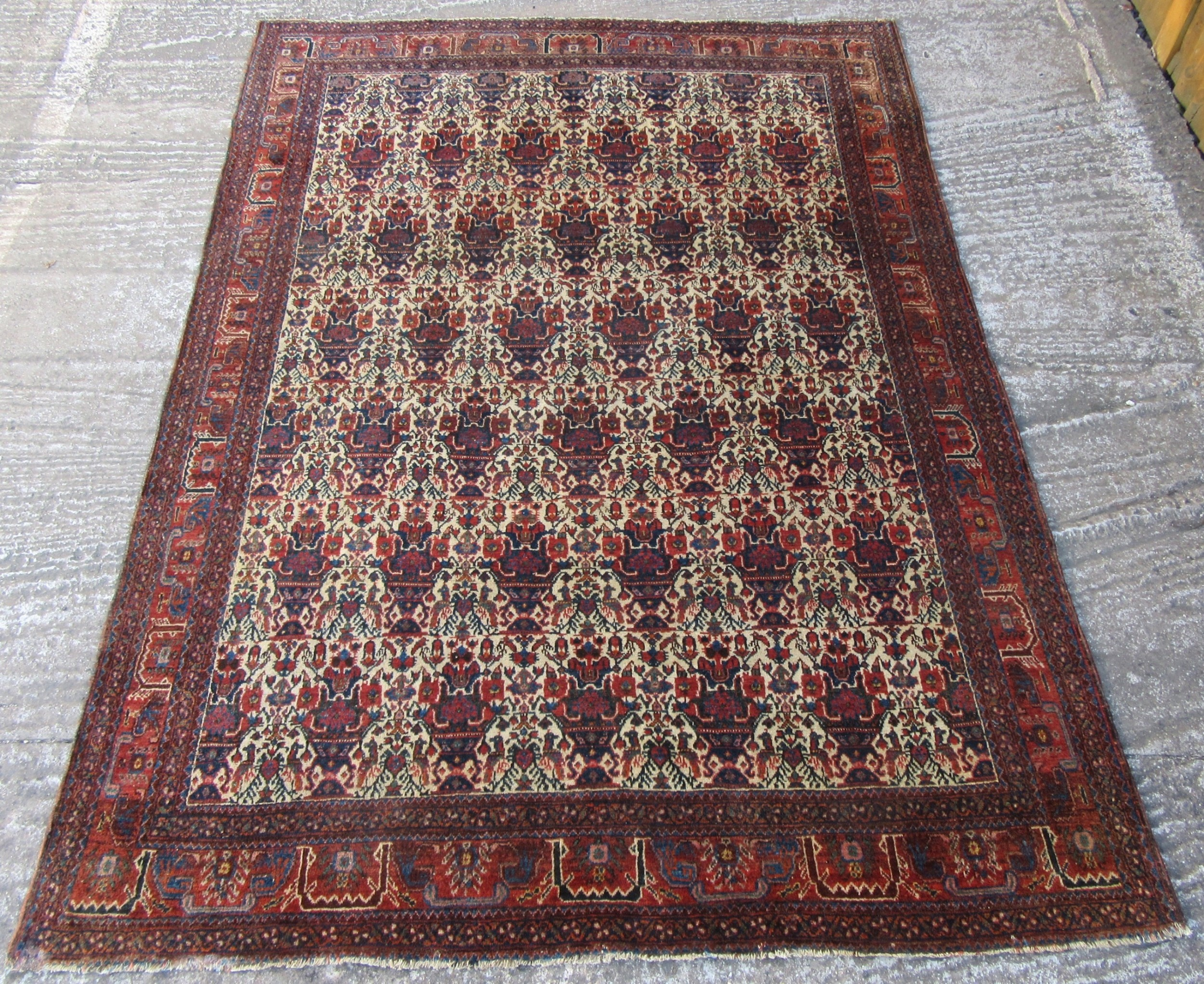 fine antique persian abadeh rug with zili sultan pattern zili sultan rug birds vases