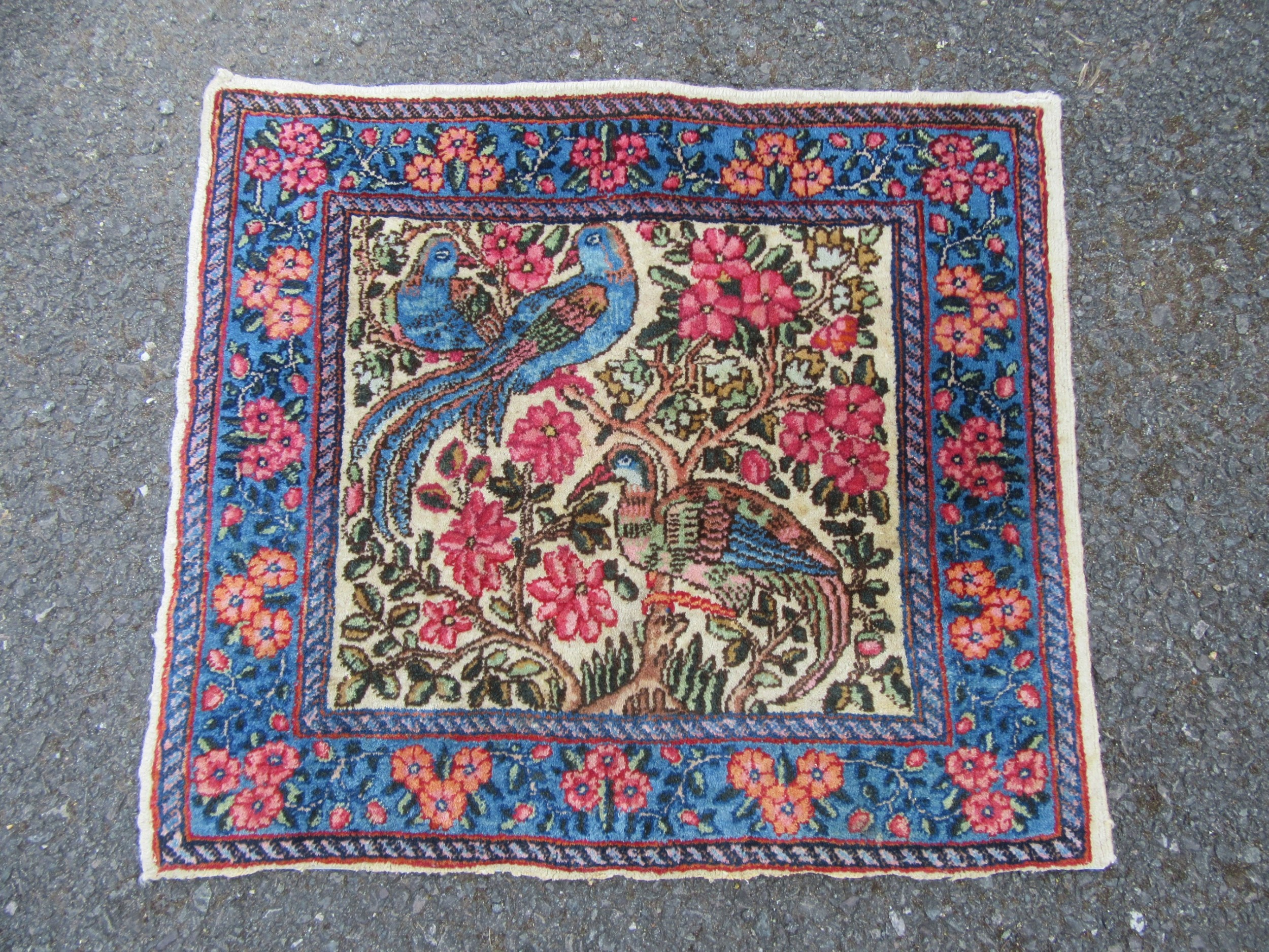 very attractive antique south persian kerman bird of paradise rug mat variety of uses
