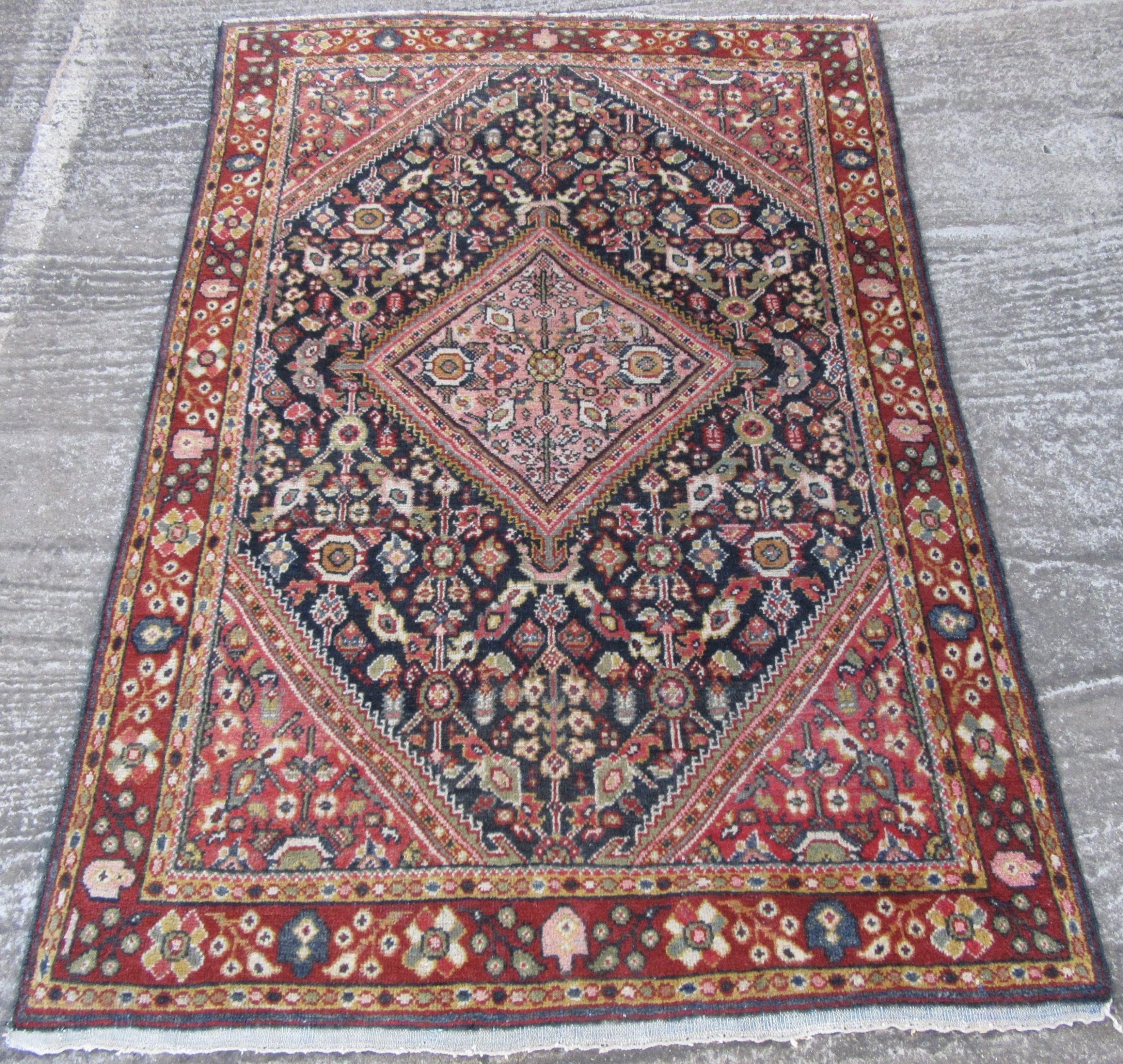 attractive antique north west persian jozan kurdish village rug 10 colours used by settled village kurdish weavers