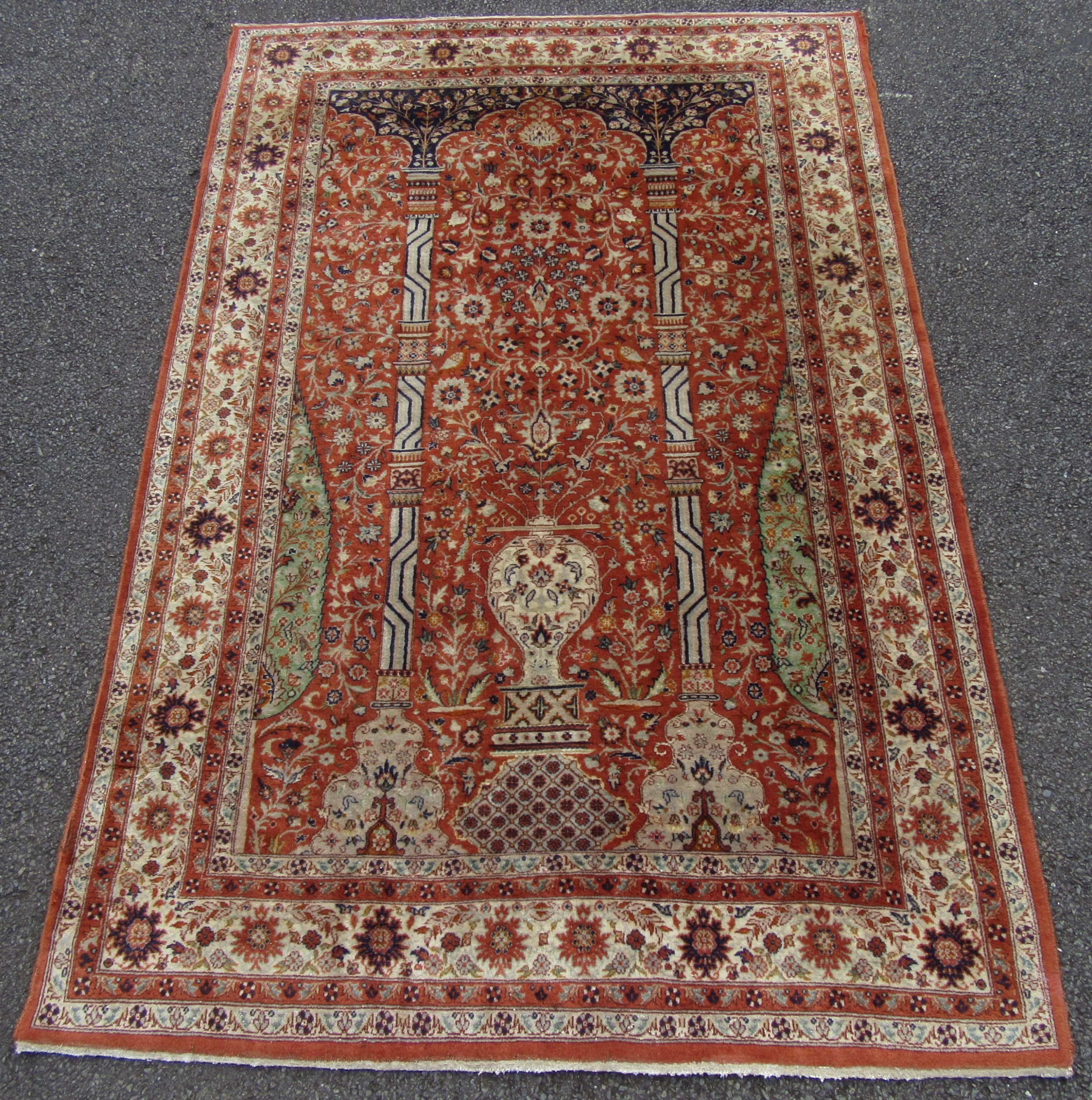 an attractive antique indian agra prayer rug of persian kirman rug design velvety wool pile