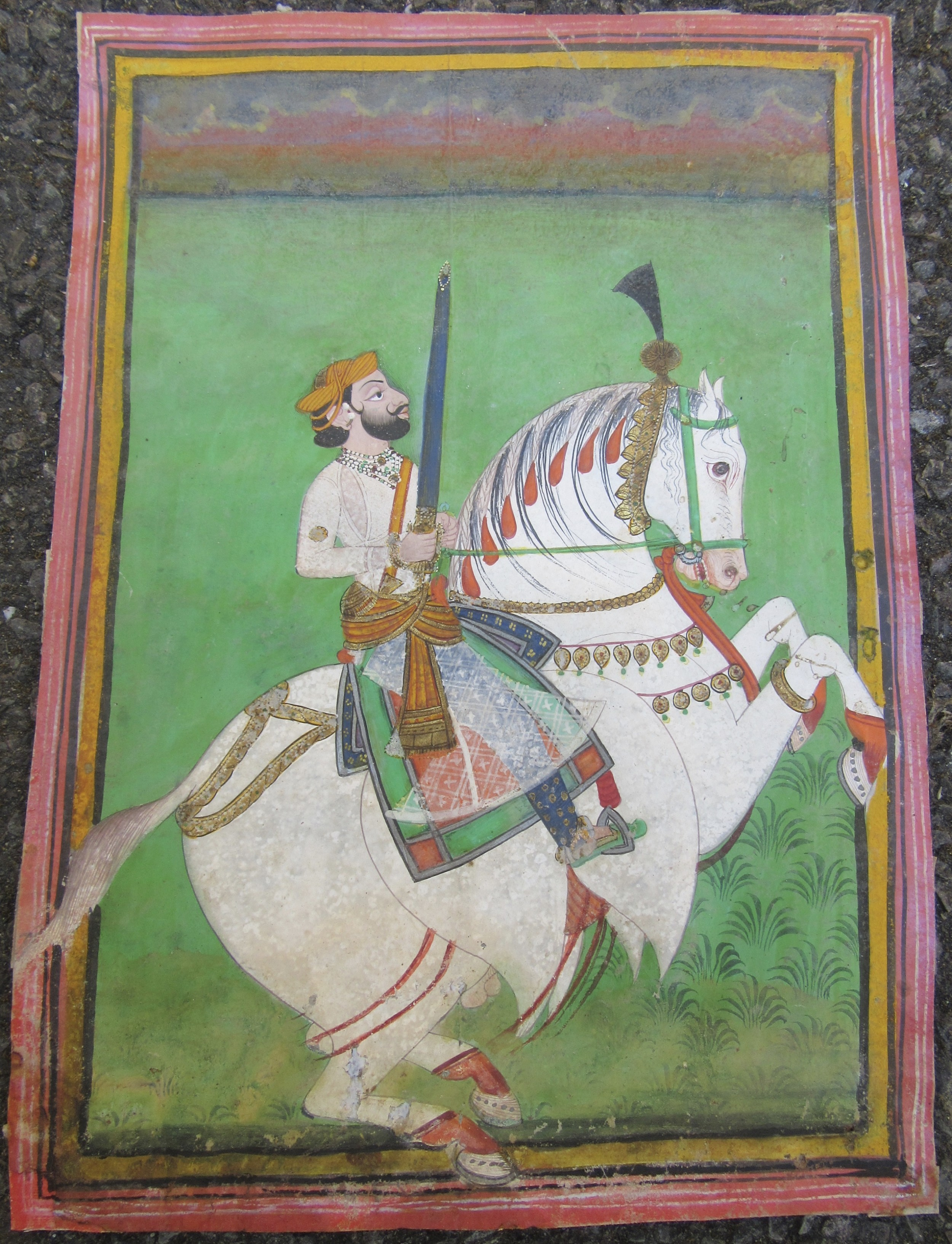 antique indian miniature painting an equestrian portrait of thakur sher singh of osian in martial pose jodhpurcirca 1850