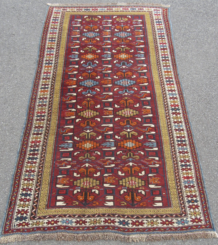 antique south caucasian karabagh or armenian kazak rug beautiful colours with bird dog motifs