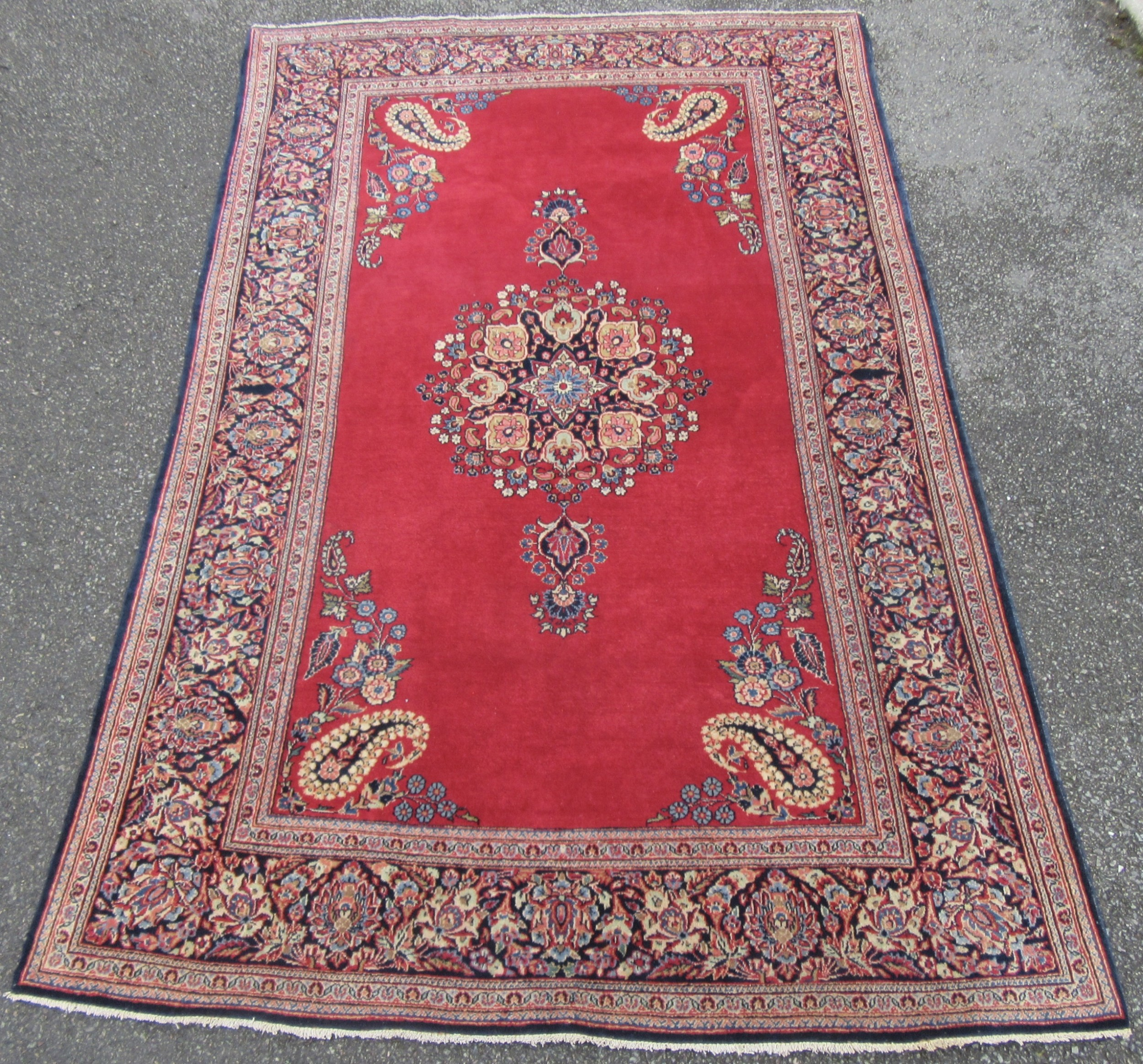 very fine antique persian kashan rug pendant boteh design