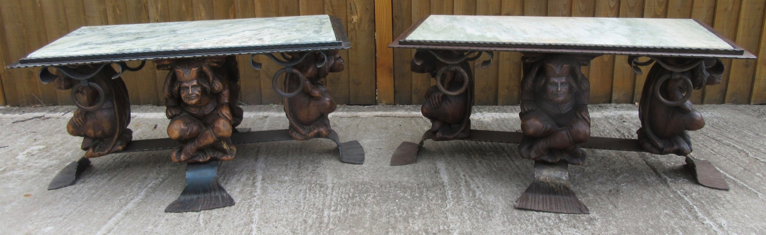 matched pair french art deco iron marble coffee tables designed by jean maurice rothschild 19021998