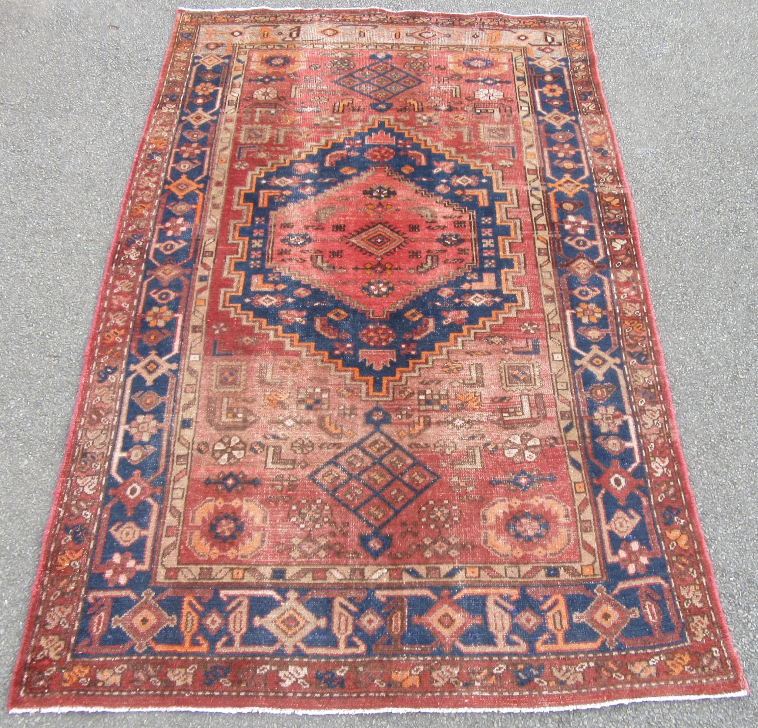 antique country house shabby chic persian hamadan rug antique persian kurdistan rug 218cm x 138cm