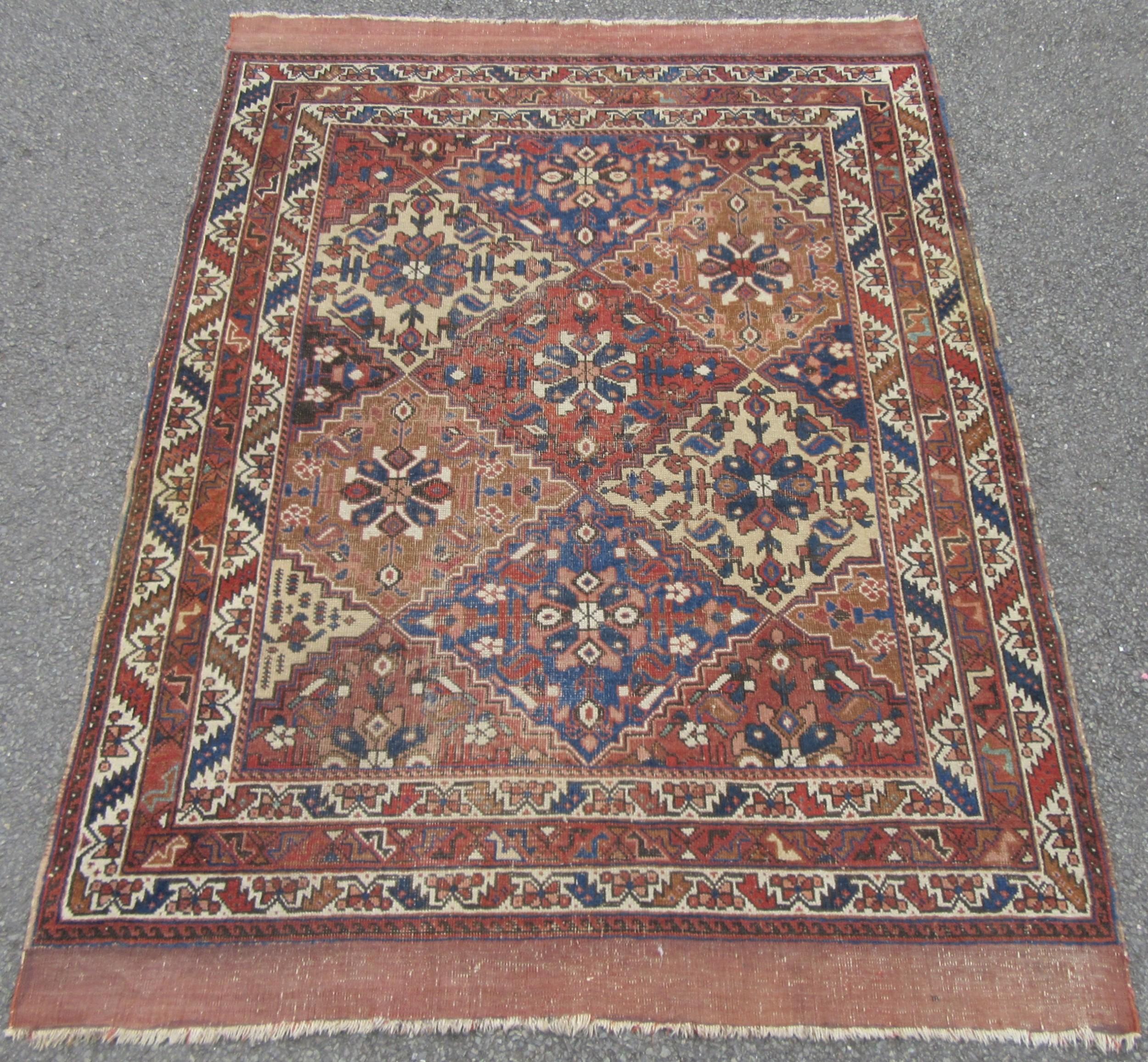 rare pattern antique persian khamseh tribal rug 2nd half 19th century