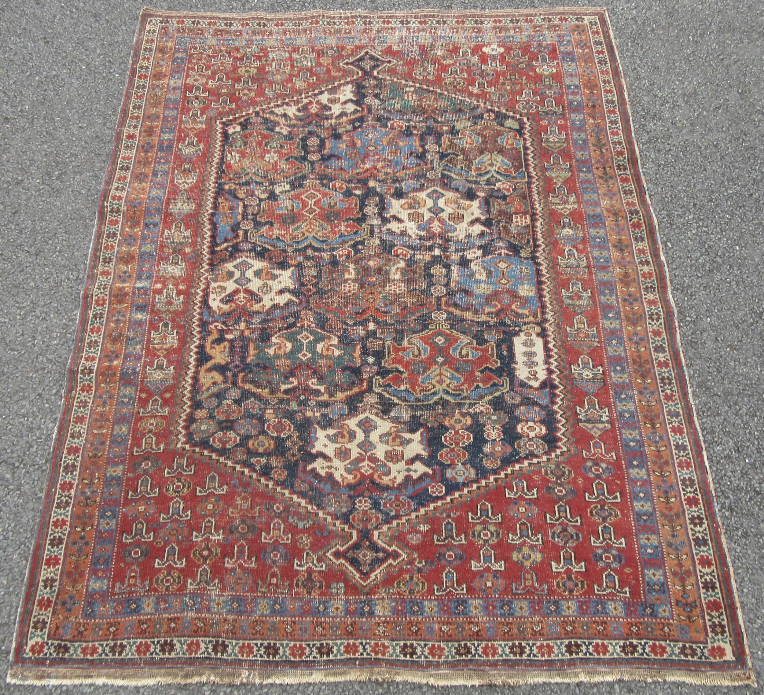 unusual scarce pattern antique country house shabby chic persian afshar rug late 19th century