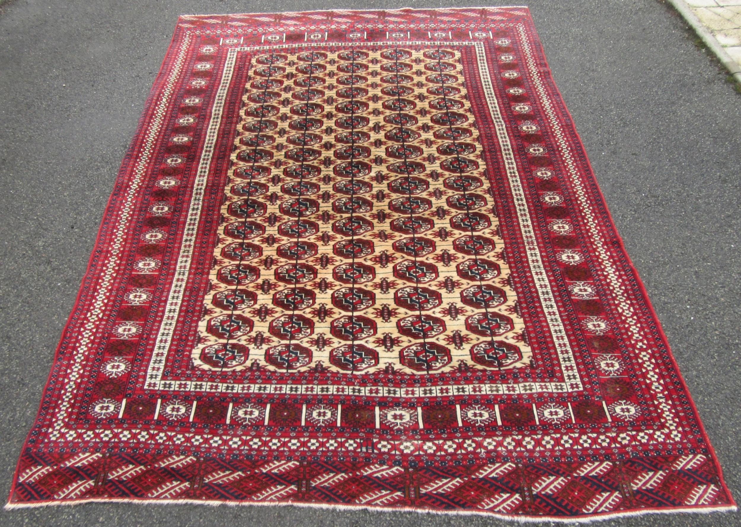 beautiful velvet piled wool old indian carpet rug in afghan turkmen tekke design