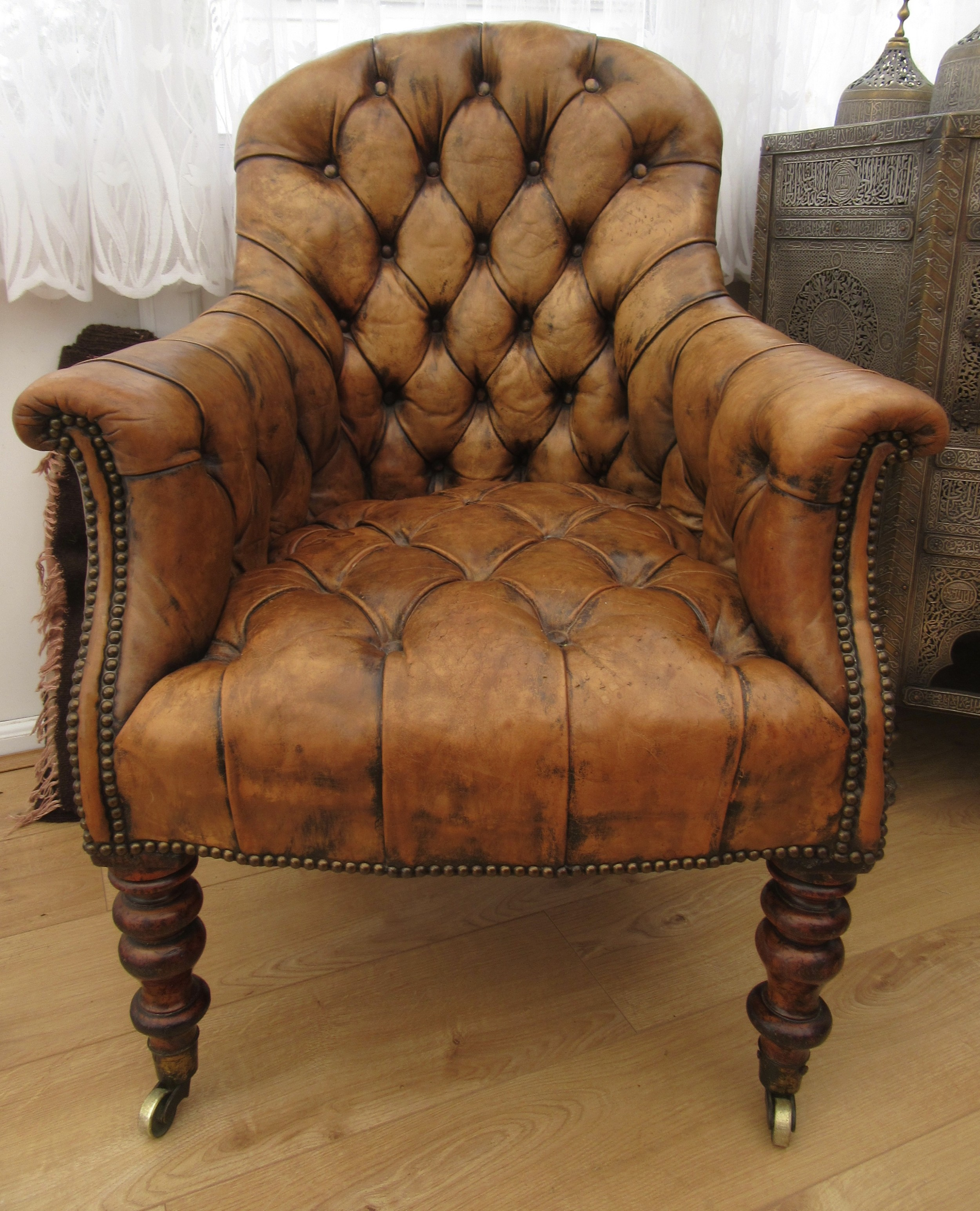 william iv early victorian deep buttoned leather library armchair circa 183040 period