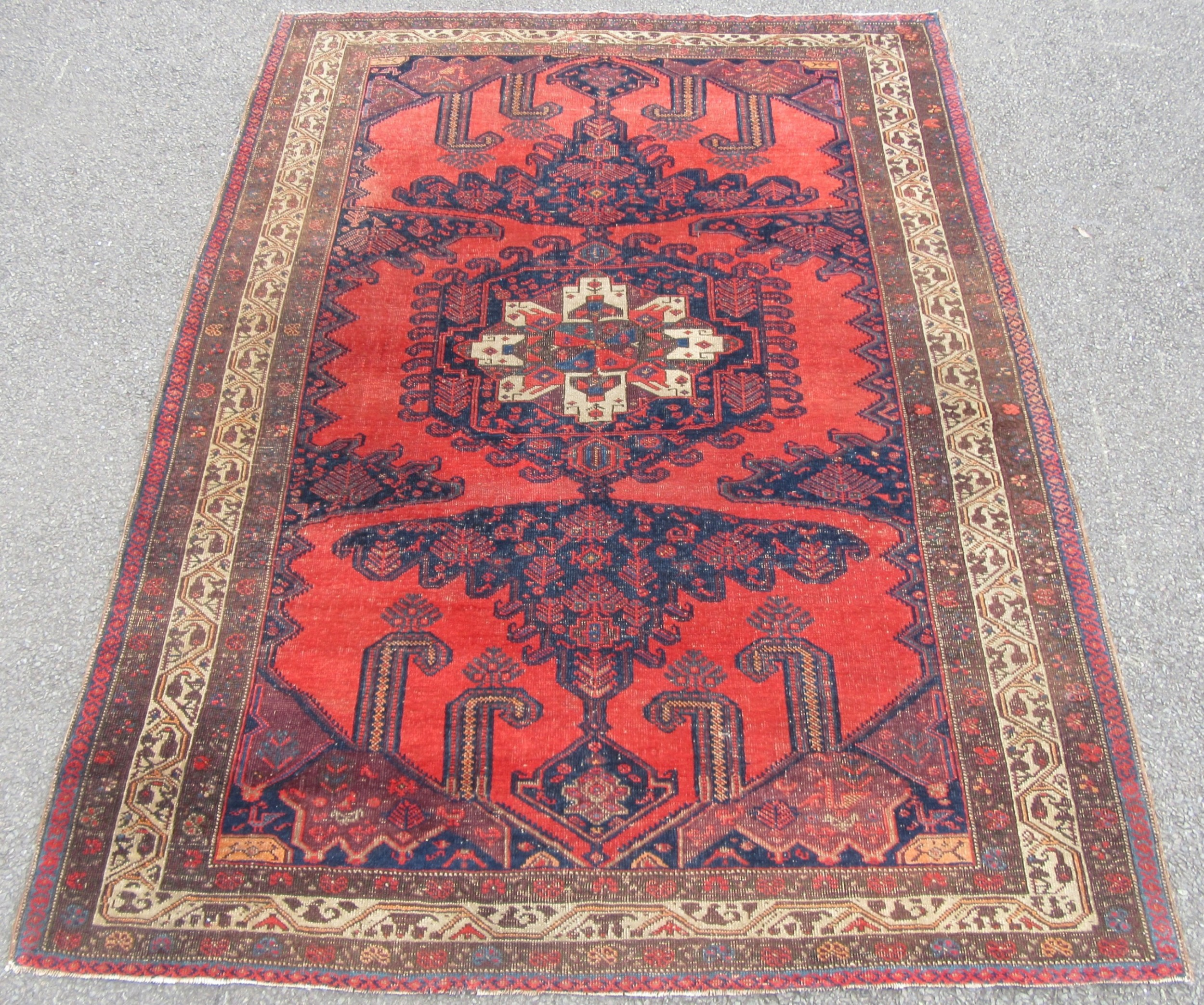 antique country house shabby chic north west persian viss carpet rug beautiful salmon ground colour