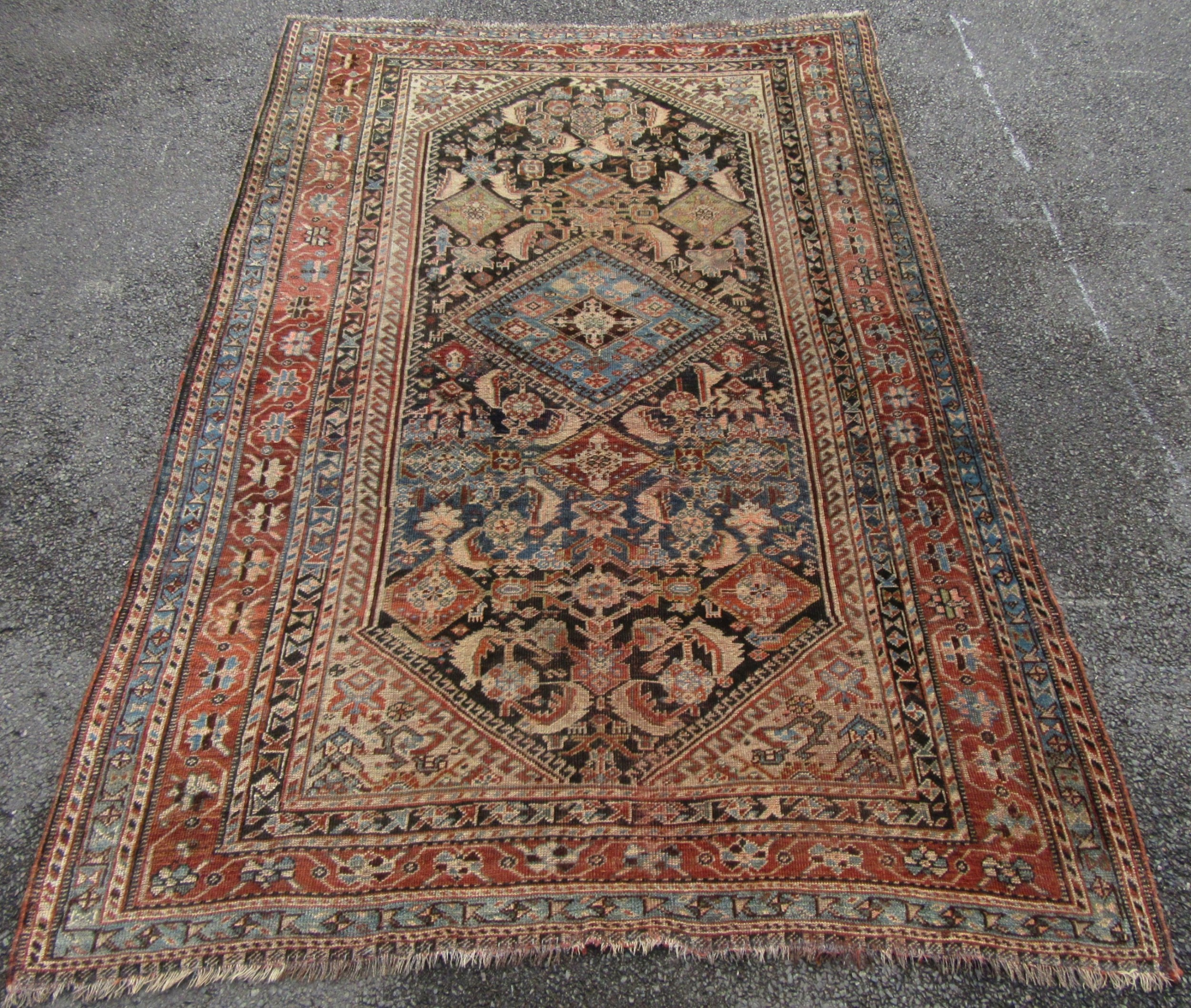 antique south west persian fars qashqai tribal rug great moody look with animals birds