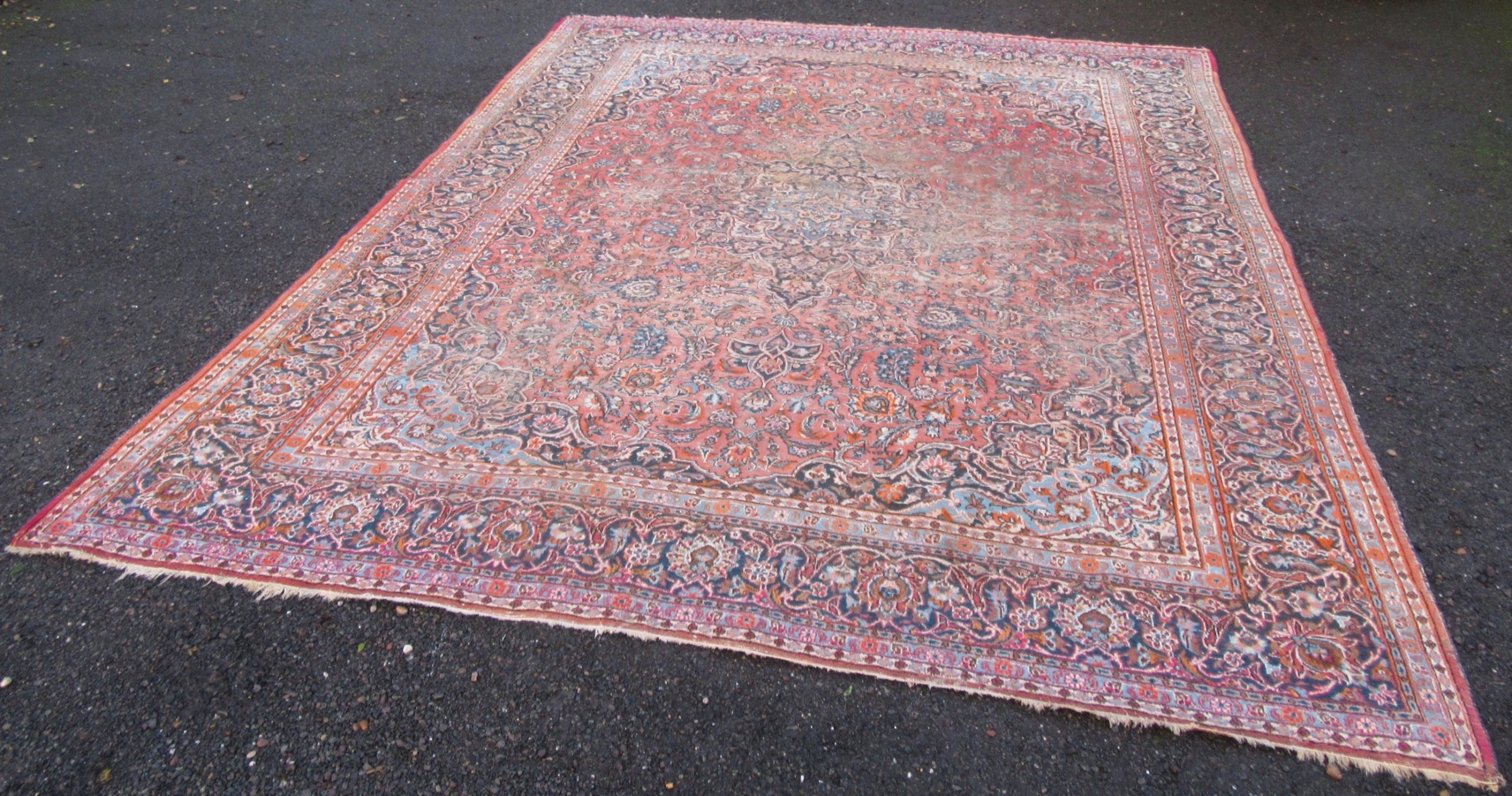 antique country house shabby chic persian kashan carpet 431cm x 325cm superb look