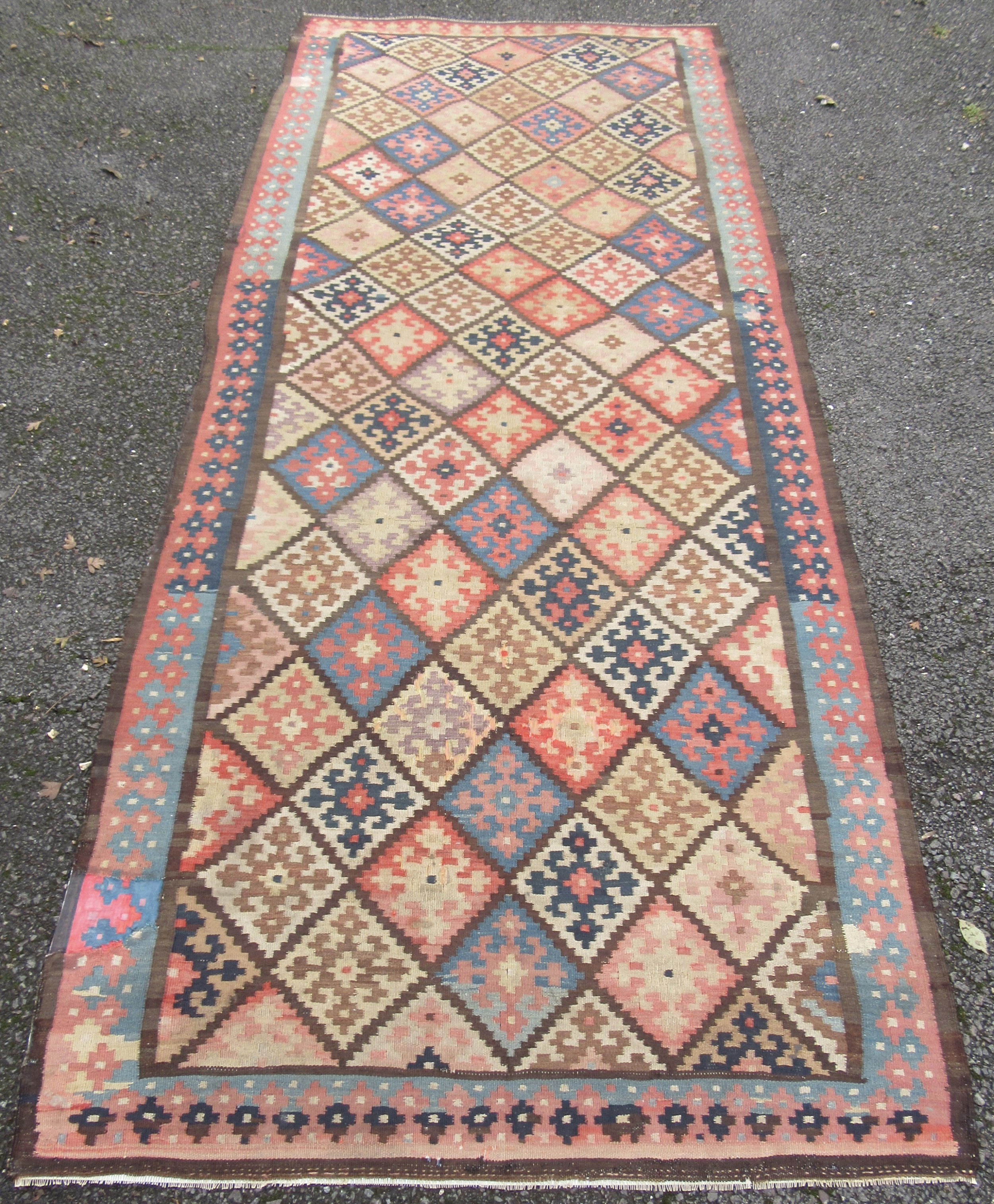 attractive antique country house shabby chic persian kurdish bakhtiari kilim kelim flat weave carpet rug