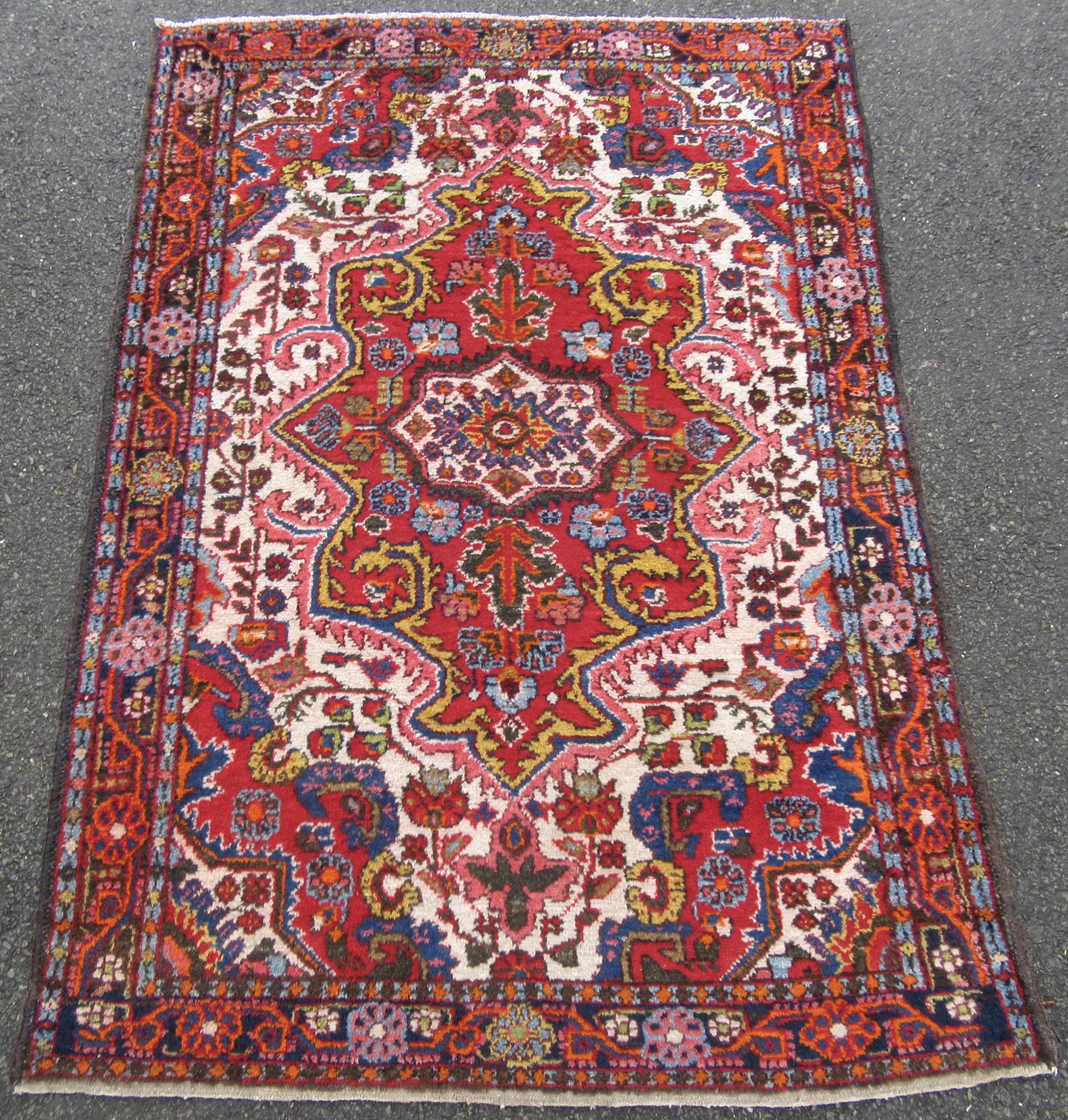 cheerful antique west persian borchalu hamadan region rug over 10 colours used