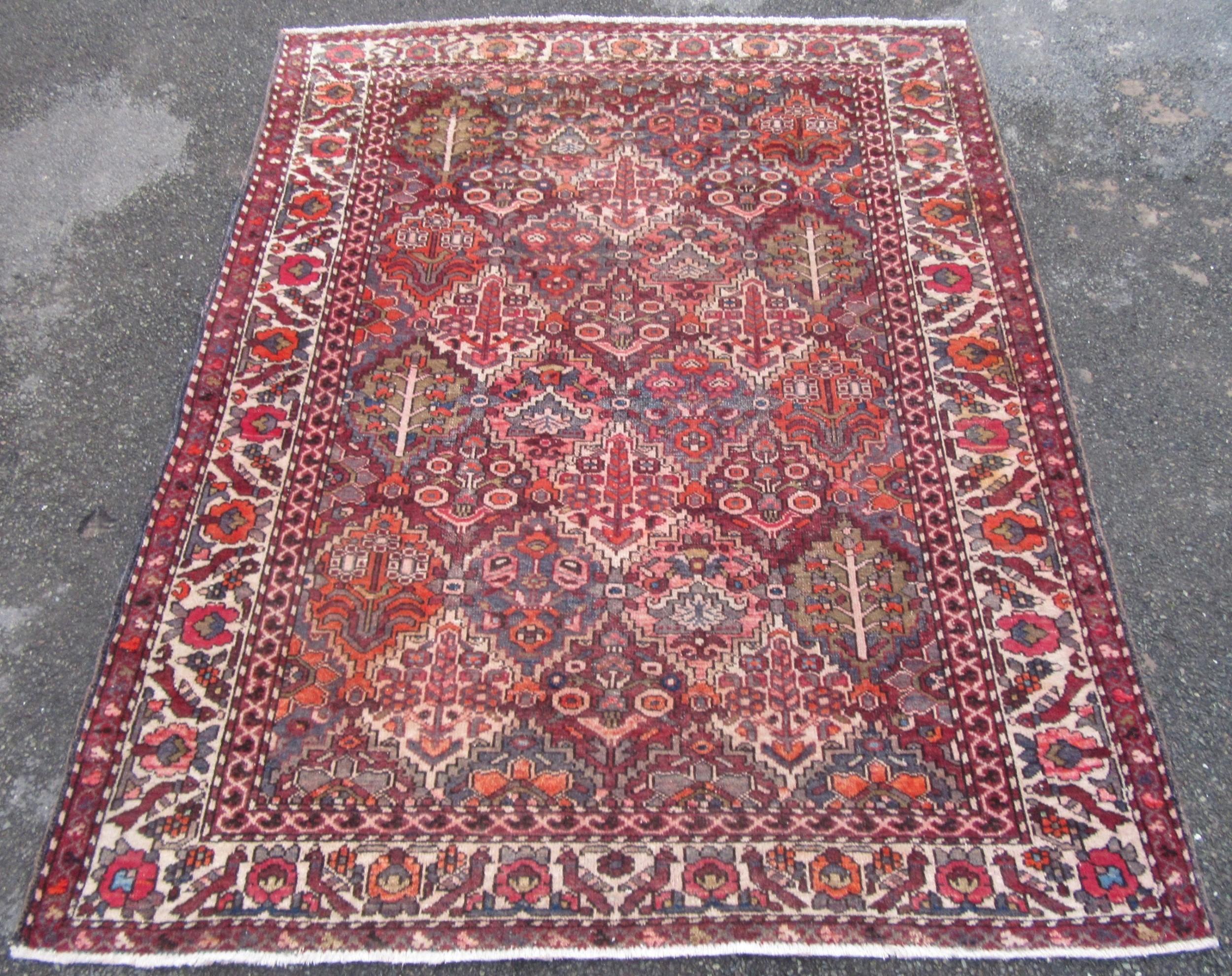 antique persian kurdish bakhtiari large rug small carpet tree of life birds 200cm x 158cm