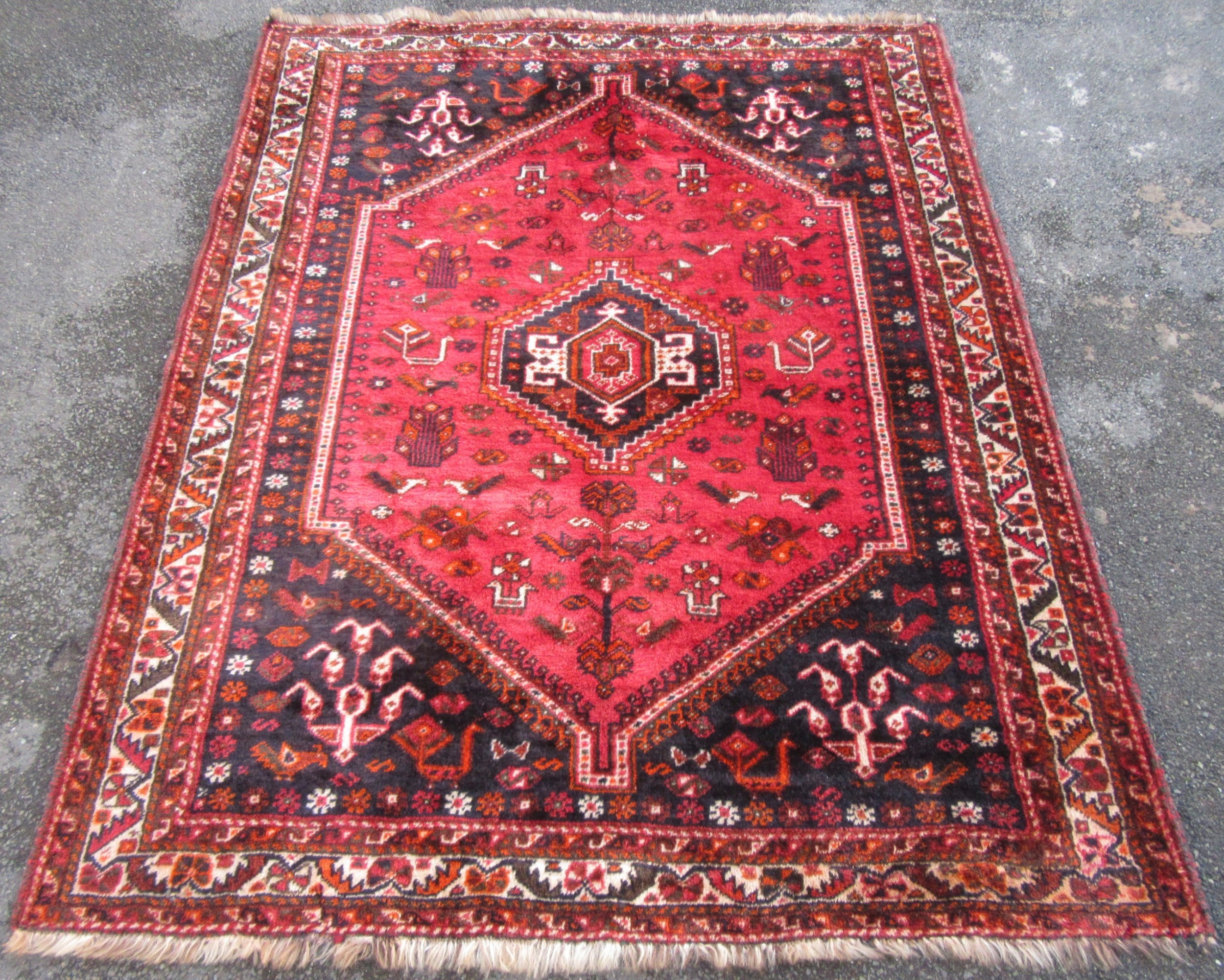 old south west persian shiraz region qashqai small carpet large rug peacocks birds