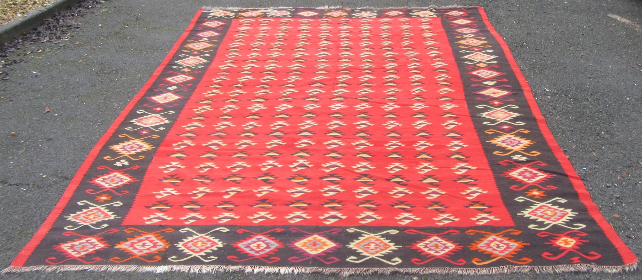 beautiful large antique turkish kilim kelim carpet rug room size 355cm x 291cm west anatolia