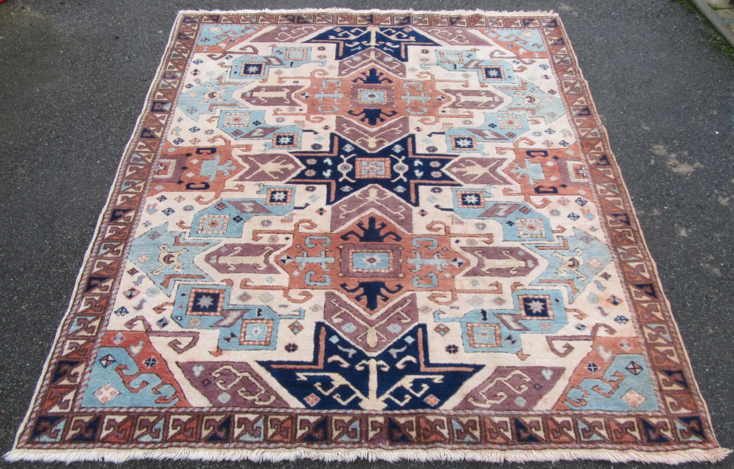 unusual vintage turkish kars kazak large rug carpet unusual sized 206cm x 186cm