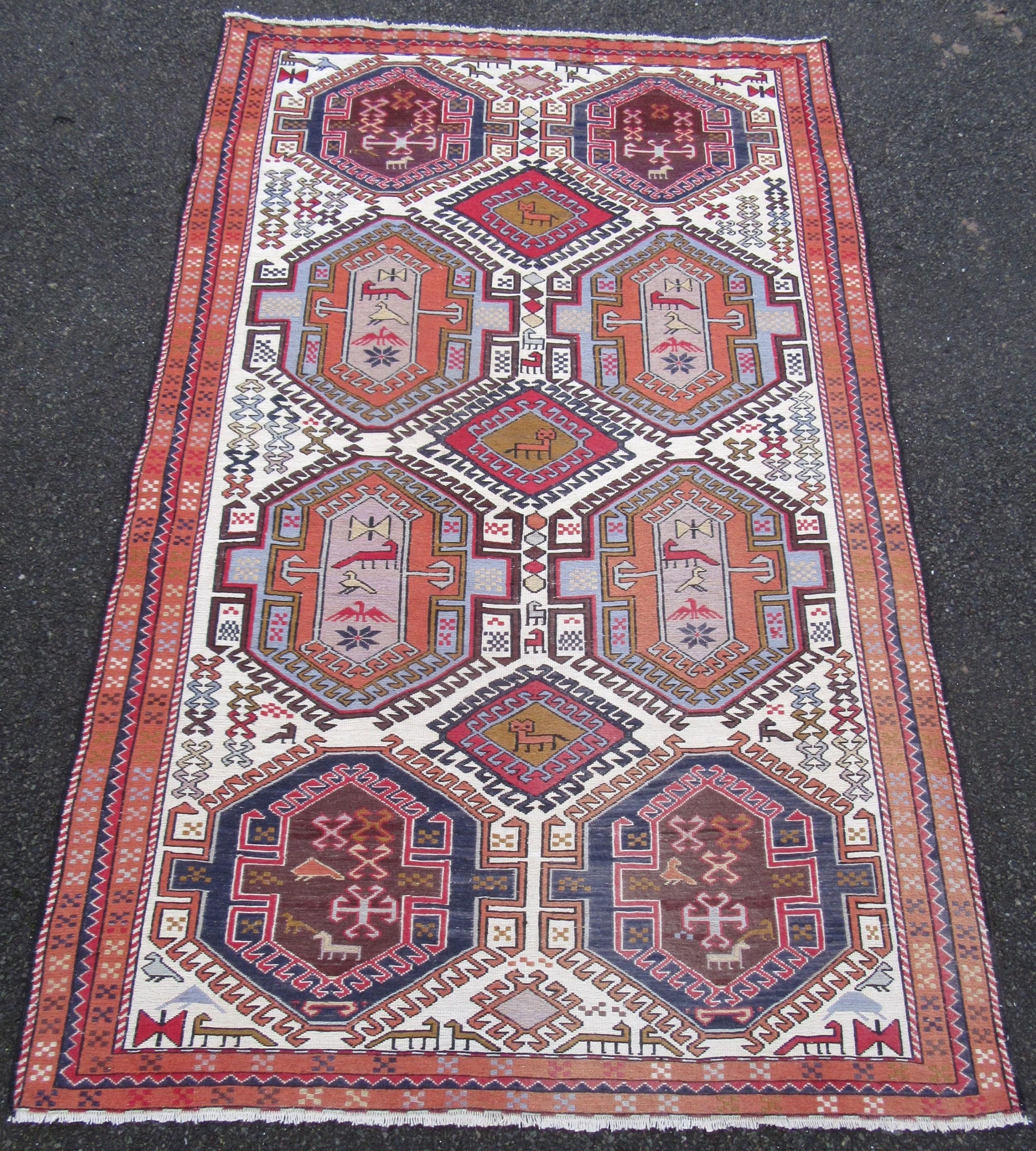 vintage caucasian persian flat weave soumak kilim kelim rug zoomorphic animals birds silk mix